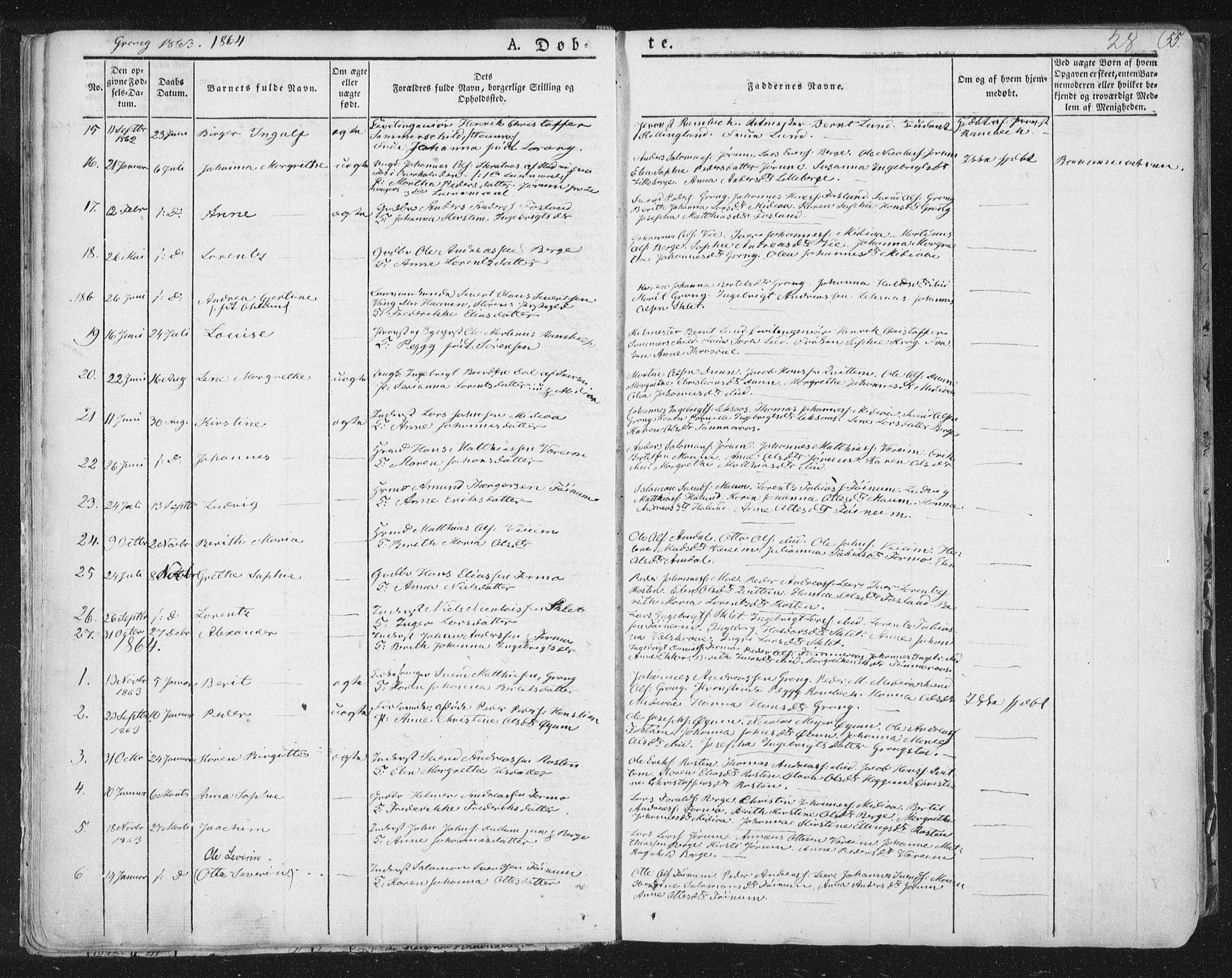 SAT, Ministerialprotokoller, klokkerbøker og fødselsregistre - Nord-Trøndelag, 758/L0513: Ministerialbok nr. 758A02 /1, 1839-1868, s. 28
