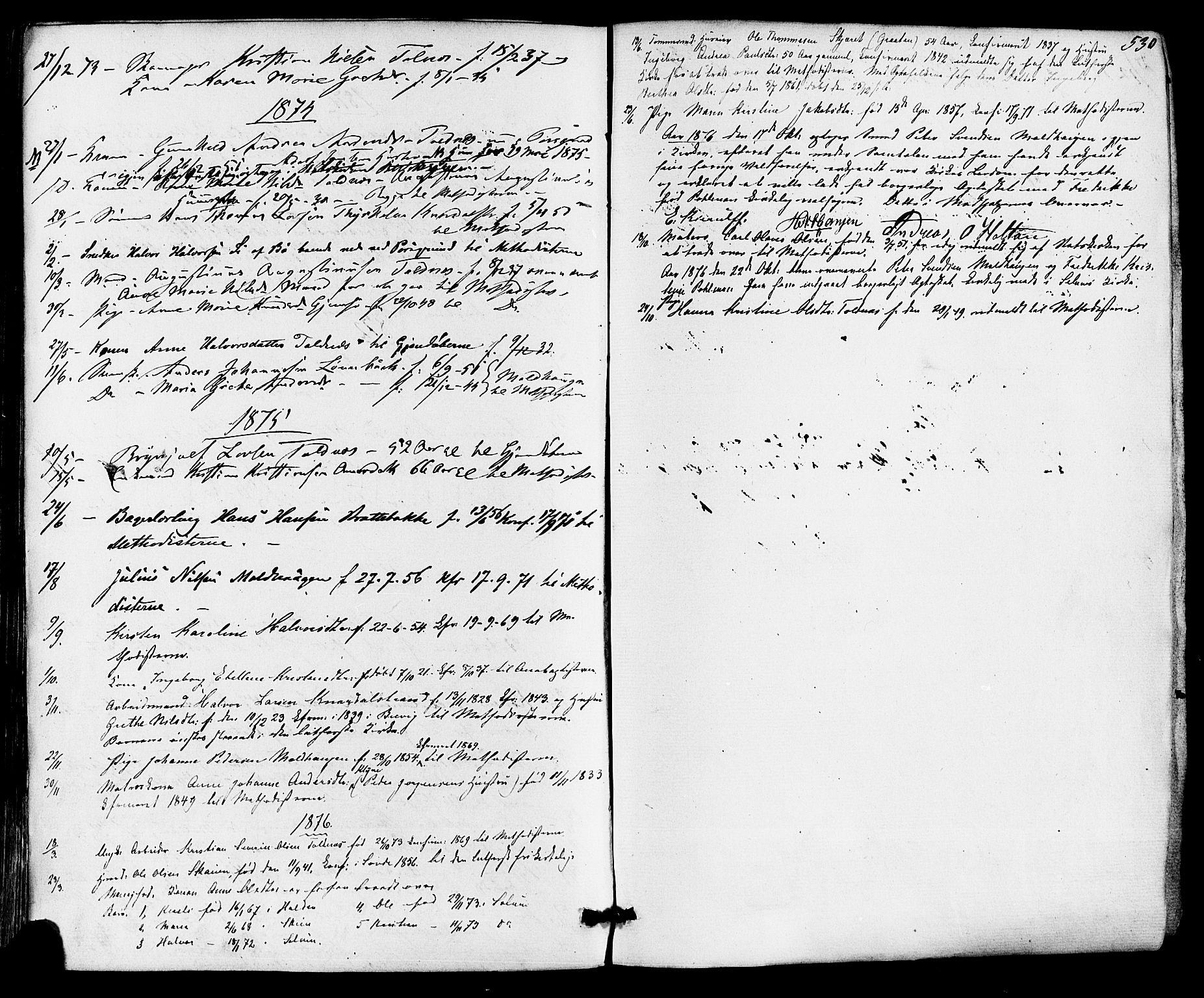 SAKO, Solum kirkebøker, F/Fa/L0008: Ministerialbok nr. I 8, 1865-1876, s. 530