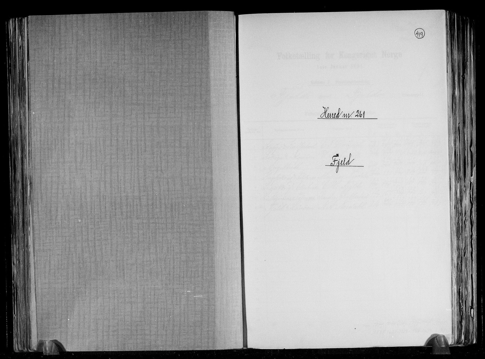 RA, Folketelling 1891 for 1246 Fjell herred, 1891, s. 1
