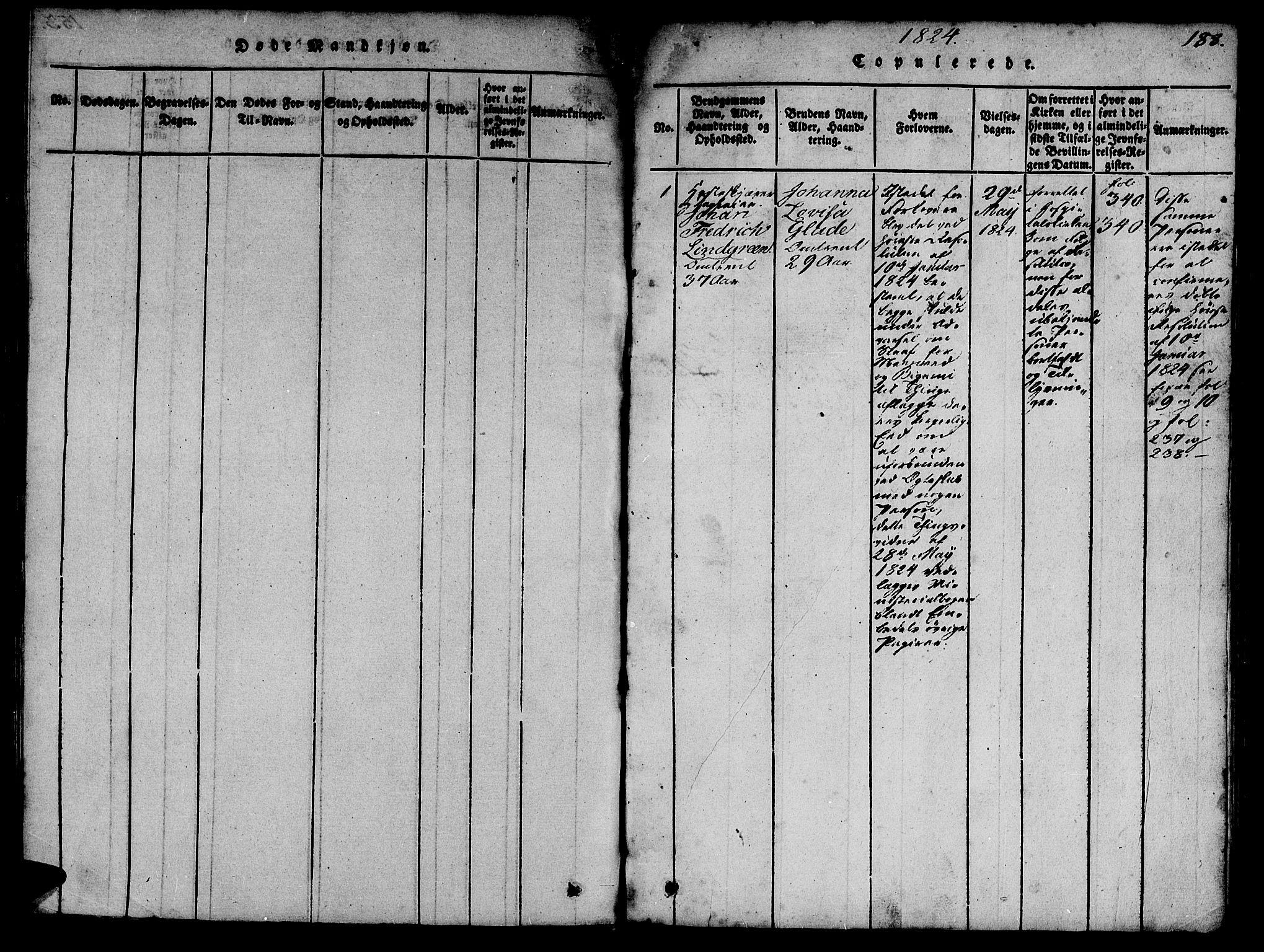 SAT, Ministerialprotokoller, klokkerbøker og fødselsregistre - Sør-Trøndelag, 623/L0478: Klokkerbok nr. 623C01, 1815-1873, s. 188