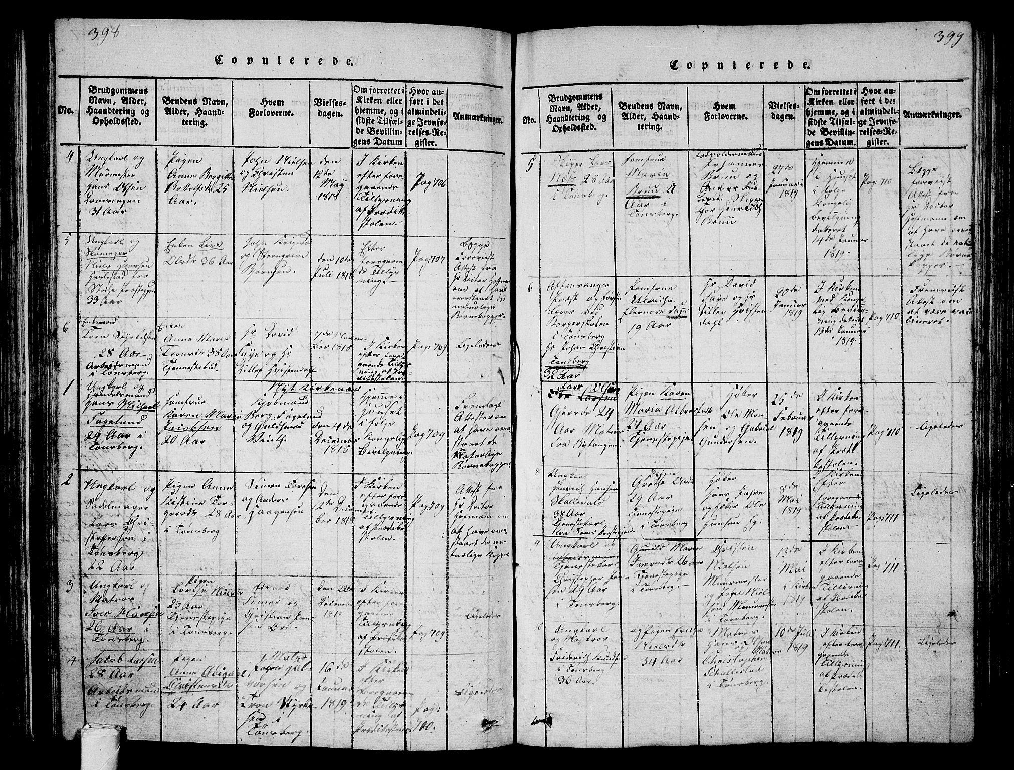 SAKO, Tønsberg kirkebøker, G/Ga/L0001: Klokkerbok nr. 1, 1813-1826, s. 398-399
