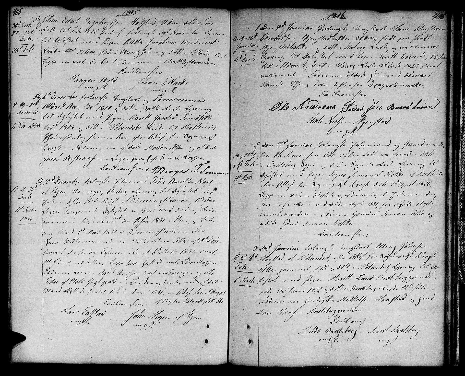 SAT, Ministerialprotokoller, klokkerbøker og fødselsregistre - Sør-Trøndelag, 604/L0181: Ministerialbok nr. 604A02, 1798-1817, s. 405-406