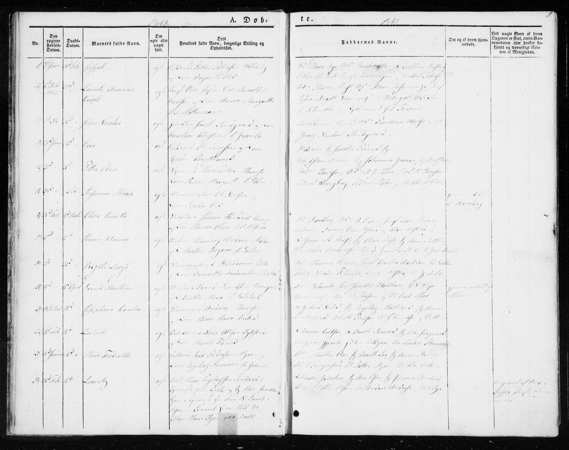 SAT, Ministerialprotokoller, klokkerbøker og fødselsregistre - Sør-Trøndelag, 604/L0183: Ministerialbok nr. 604A04, 1841-1850, s. 11