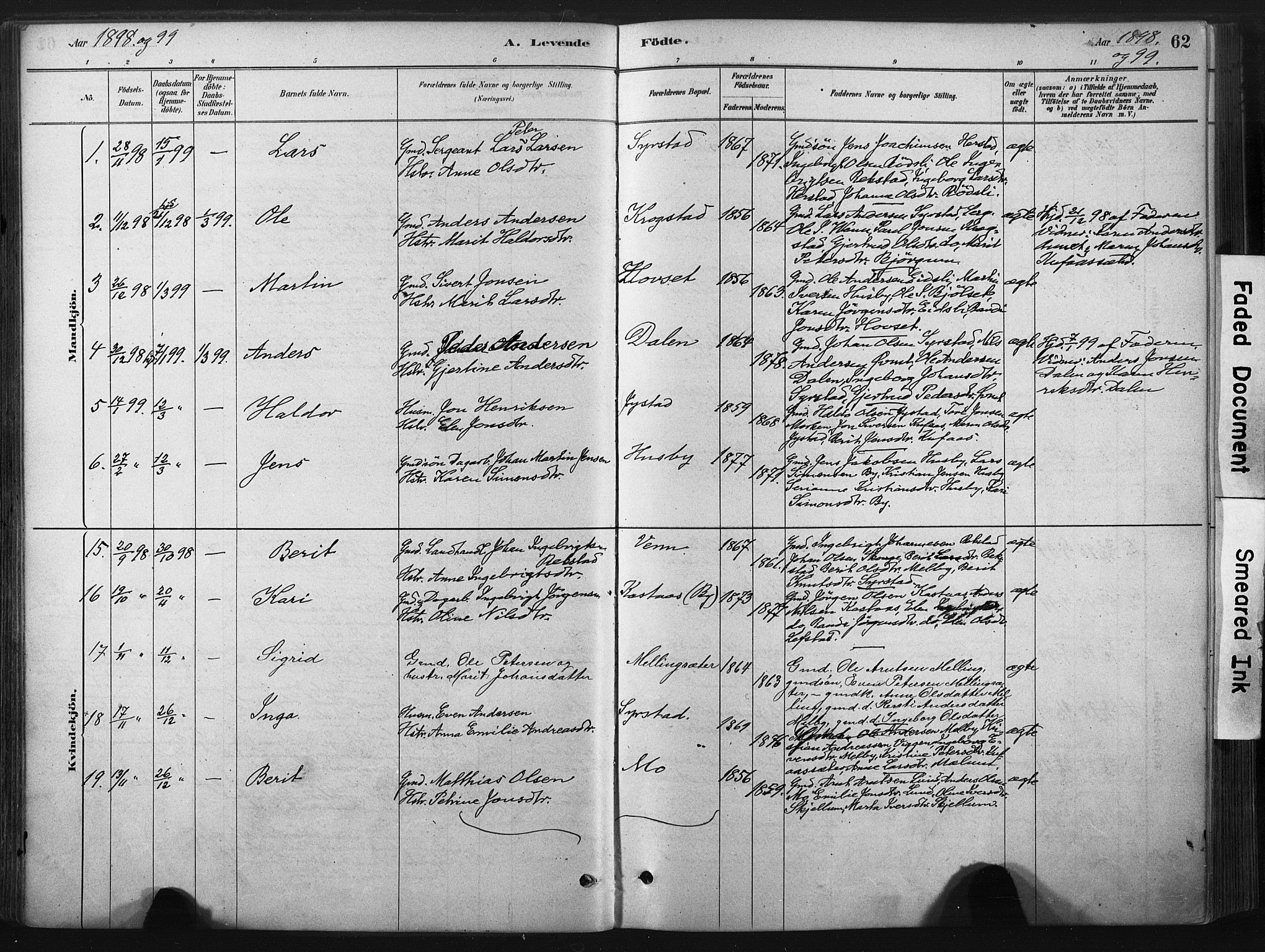 SAT, Ministerialprotokoller, klokkerbøker og fødselsregistre - Sør-Trøndelag, 667/L0795: Ministerialbok nr. 667A03, 1879-1907, s. 62