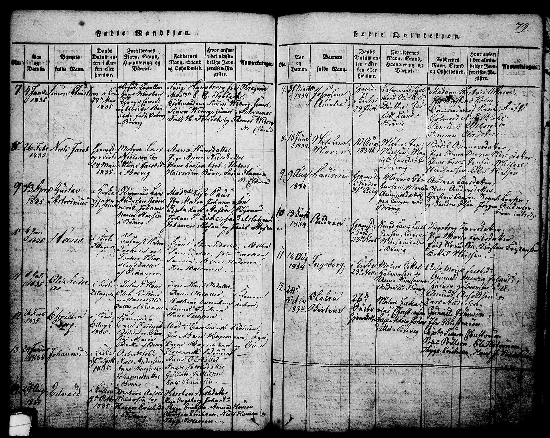 SAKO, Brevik kirkebøker, G/Ga/L0001: Klokkerbok nr. 1, 1814-1845, s. 79