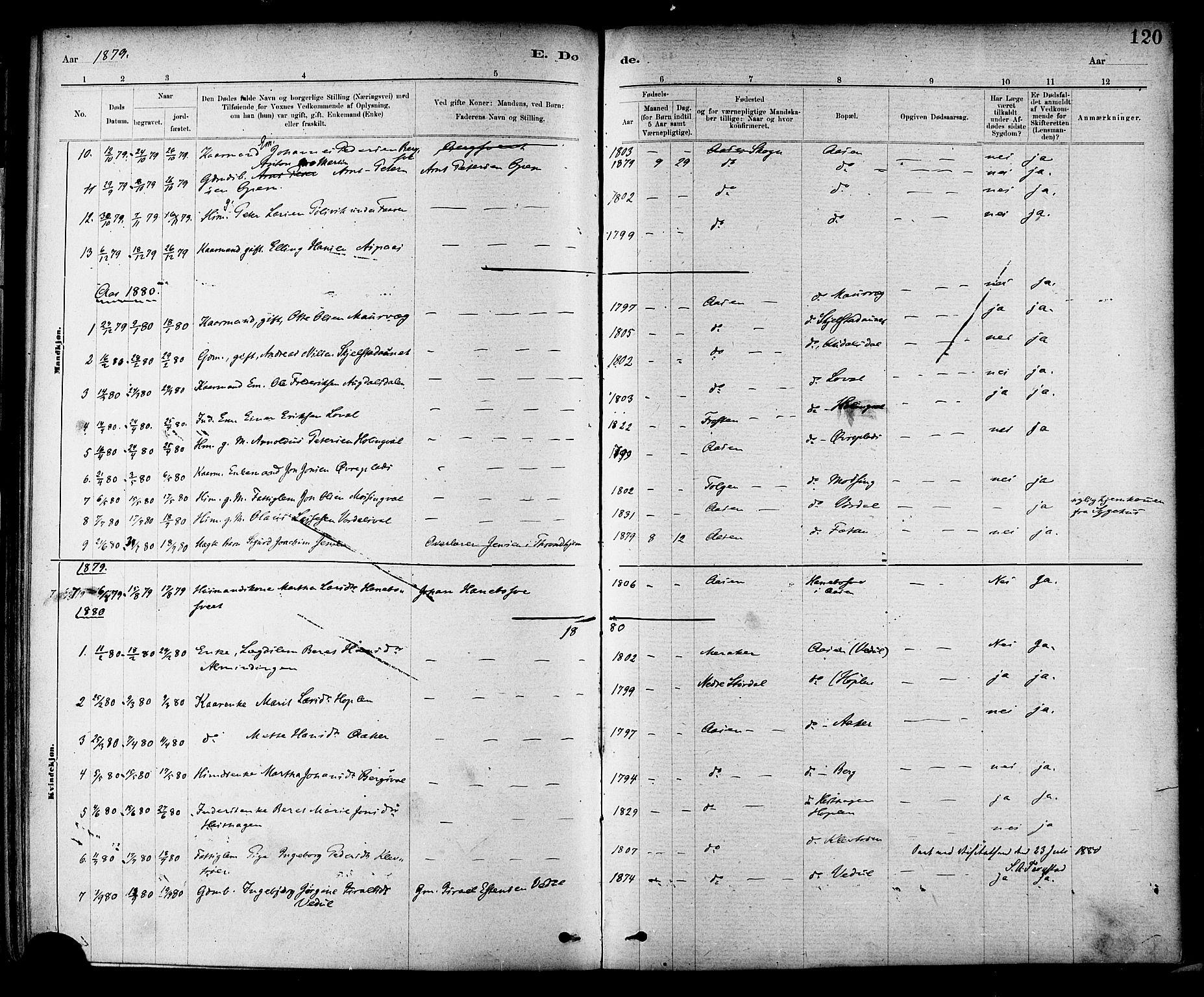 SAT, Ministerialprotokoller, klokkerbøker og fødselsregistre - Nord-Trøndelag, 714/L0130: Ministerialbok nr. 714A01, 1878-1895, s. 120