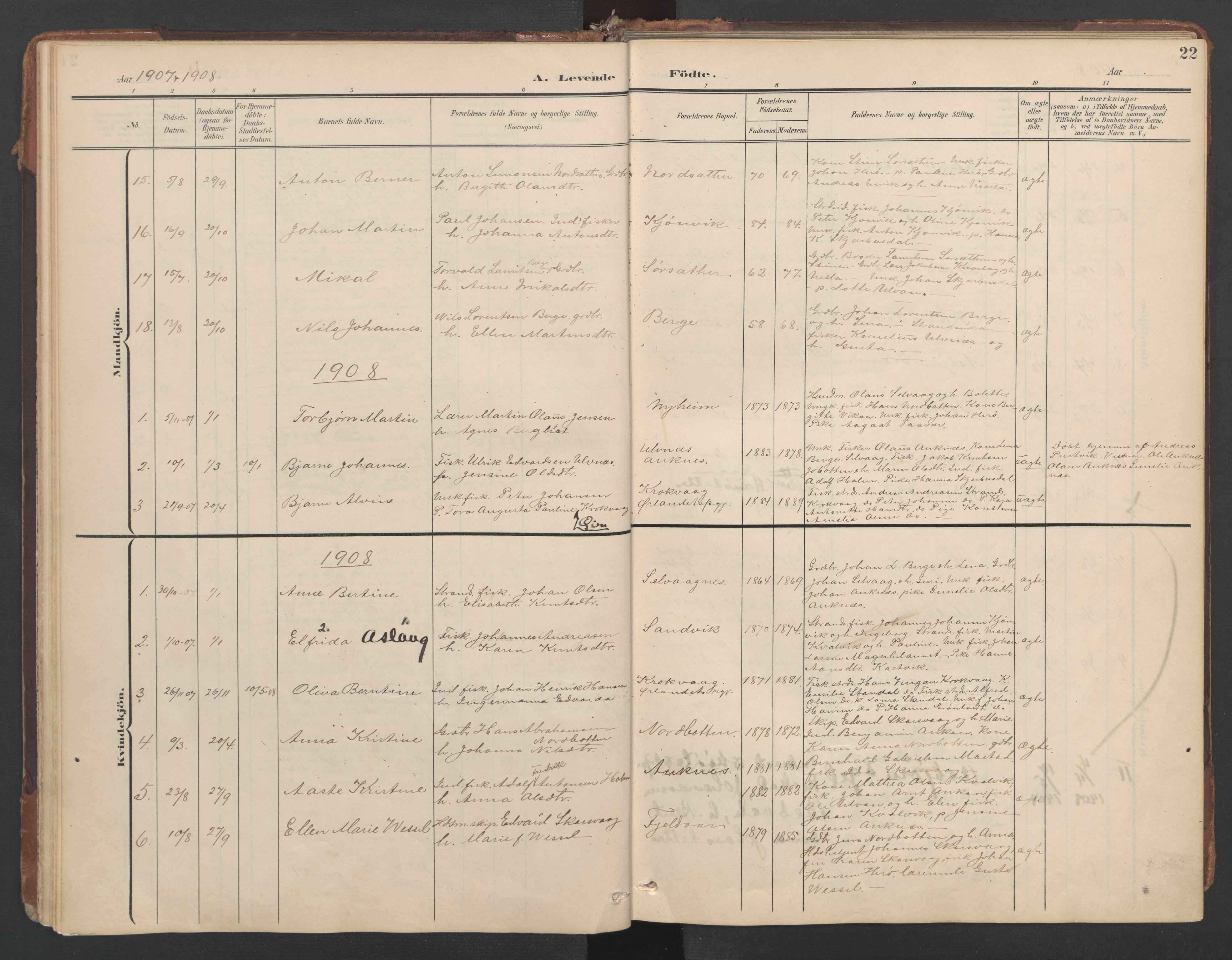 SAT, Ministerialprotokoller, klokkerbøker og fødselsregistre - Sør-Trøndelag, 638/L0568: Ministerialbok nr. 638A01, 1901-1916, s. 22