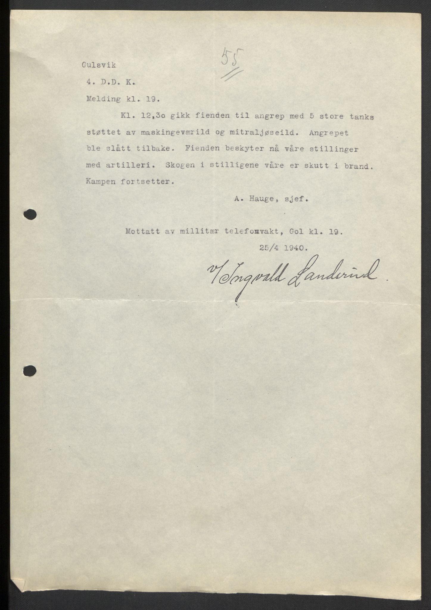 RA, Forsvaret, Forsvarets krigshistoriske avdeling, Y/Yb/L0104: II-C-11-430  -  4. Divisjon., 1940, s. 219