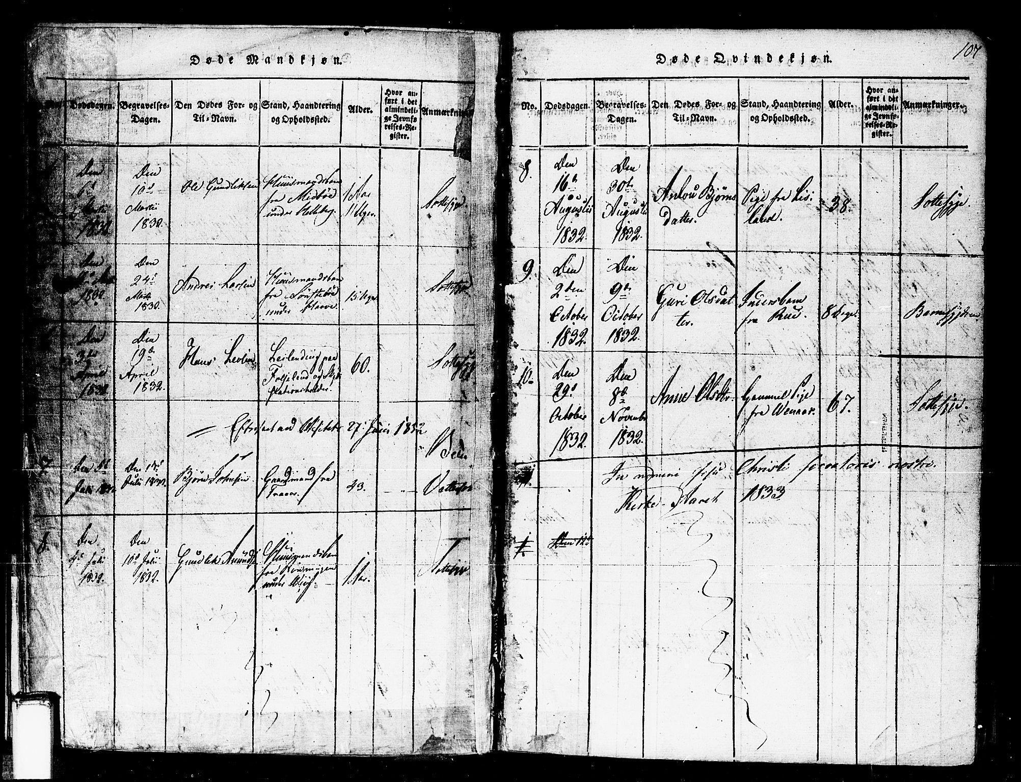 SAKO, Gransherad kirkebøker, F/Fa/L0001: Ministerialbok nr. I 1, 1815-1843, s. 107