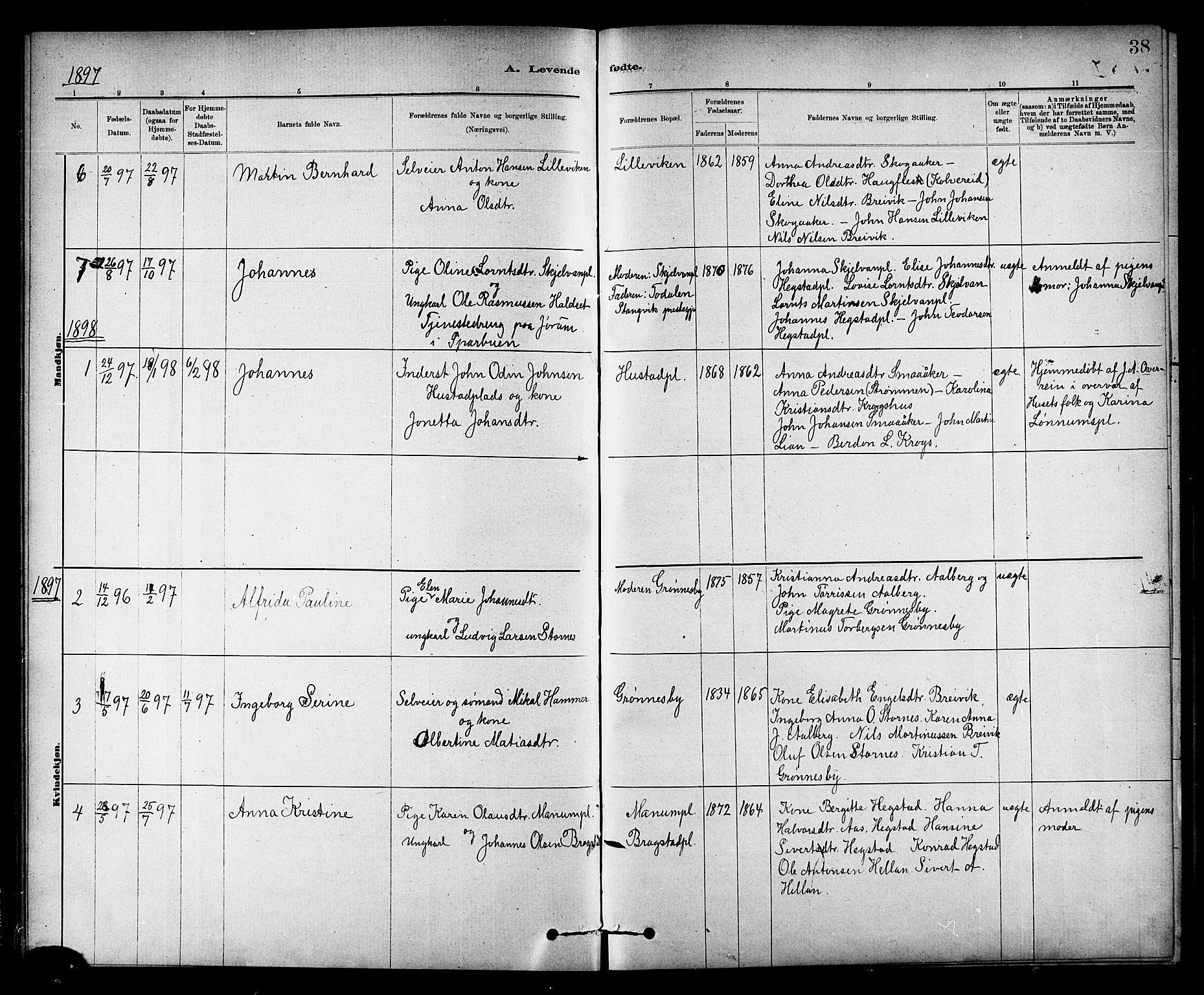 SAT, Ministerialprotokoller, klokkerbøker og fødselsregistre - Nord-Trøndelag, 732/L0318: Klokkerbok nr. 732C02, 1881-1911, s. 38