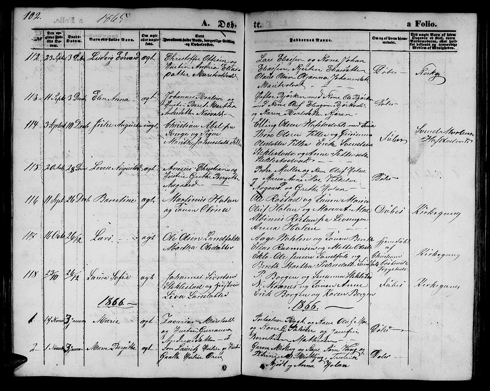 SAT, Ministerialprotokoller, klokkerbøker og fødselsregistre - Nord-Trøndelag, 723/L0254: Klokkerbok nr. 723C02, 1858-1868, s. 102