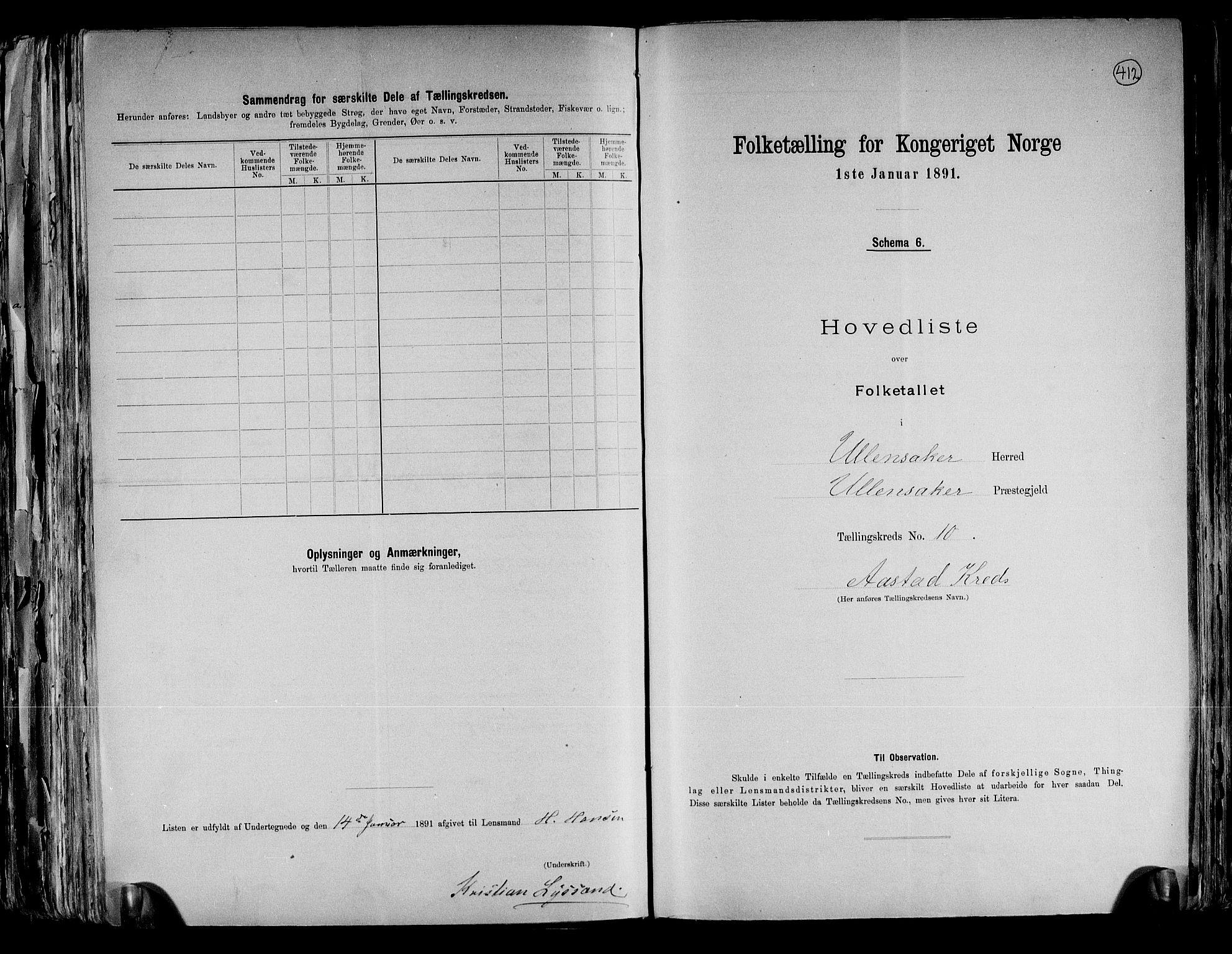 RA, Folketelling 1891 for 0235 Ullensaker herred, 1891, s. 23