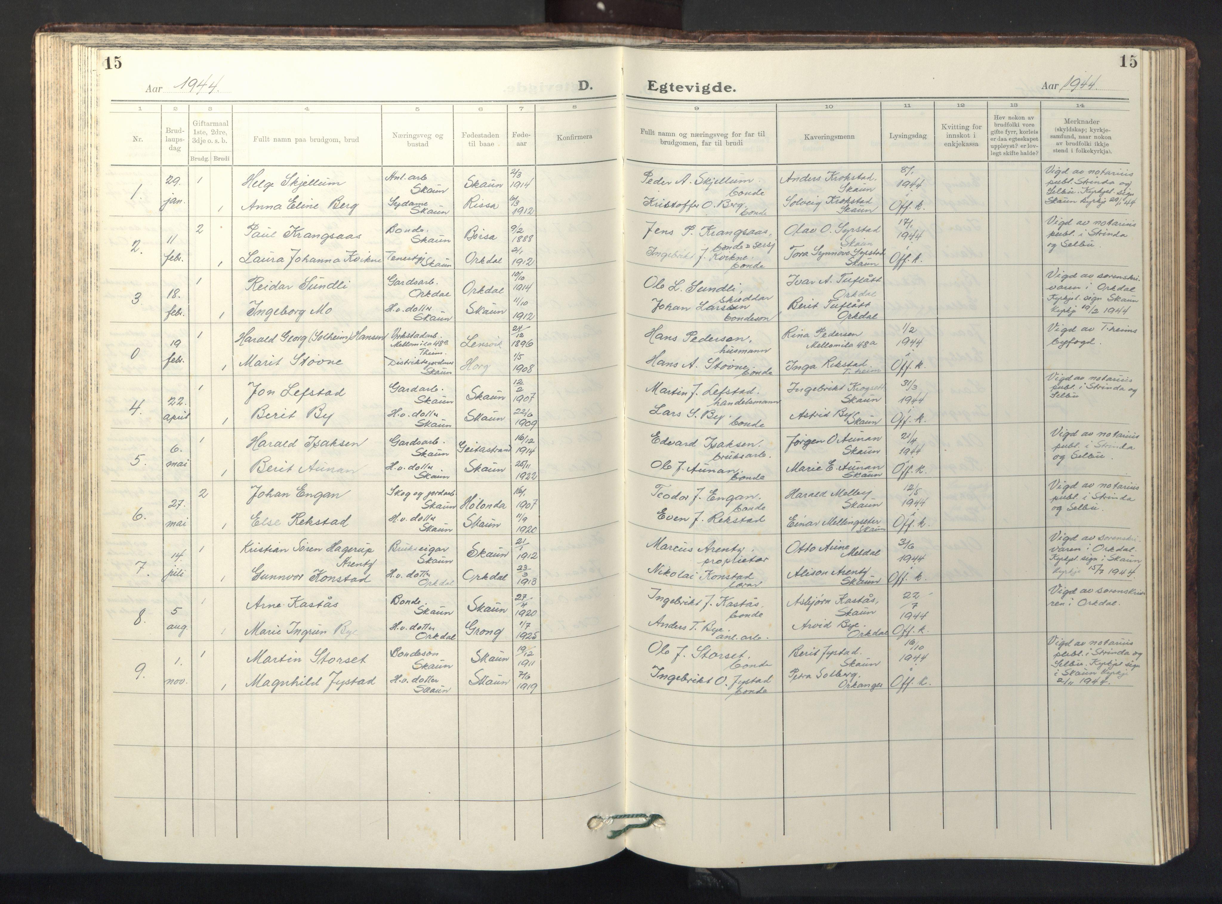 SAT, Ministerialprotokoller, klokkerbøker og fødselsregistre - Sør-Trøndelag, 667/L0799: Klokkerbok nr. 667C04, 1929-1950, s. 15