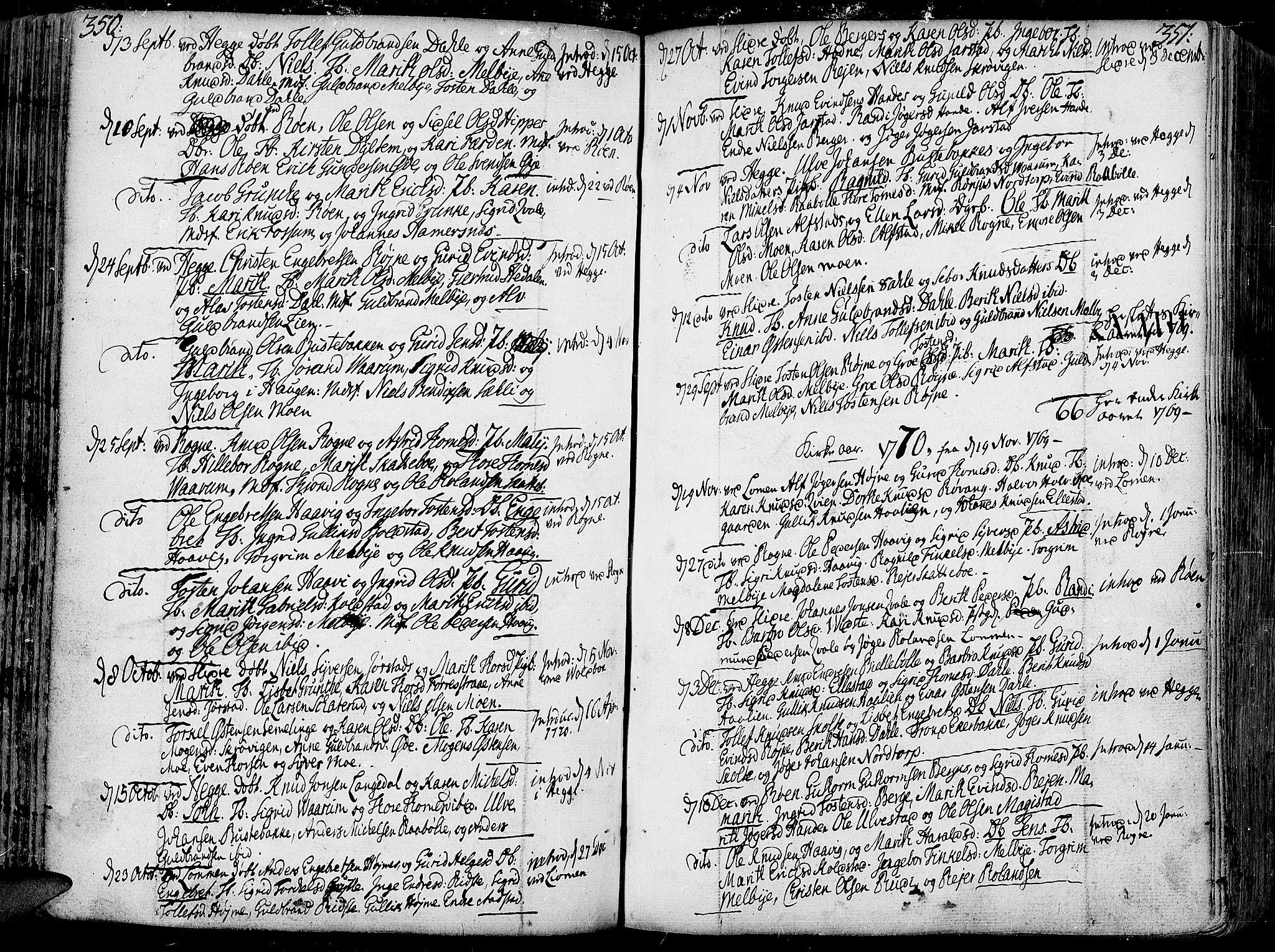 SAH, Slidre prestekontor, Ministerialbok nr. 1, 1724-1814, s. 350-351