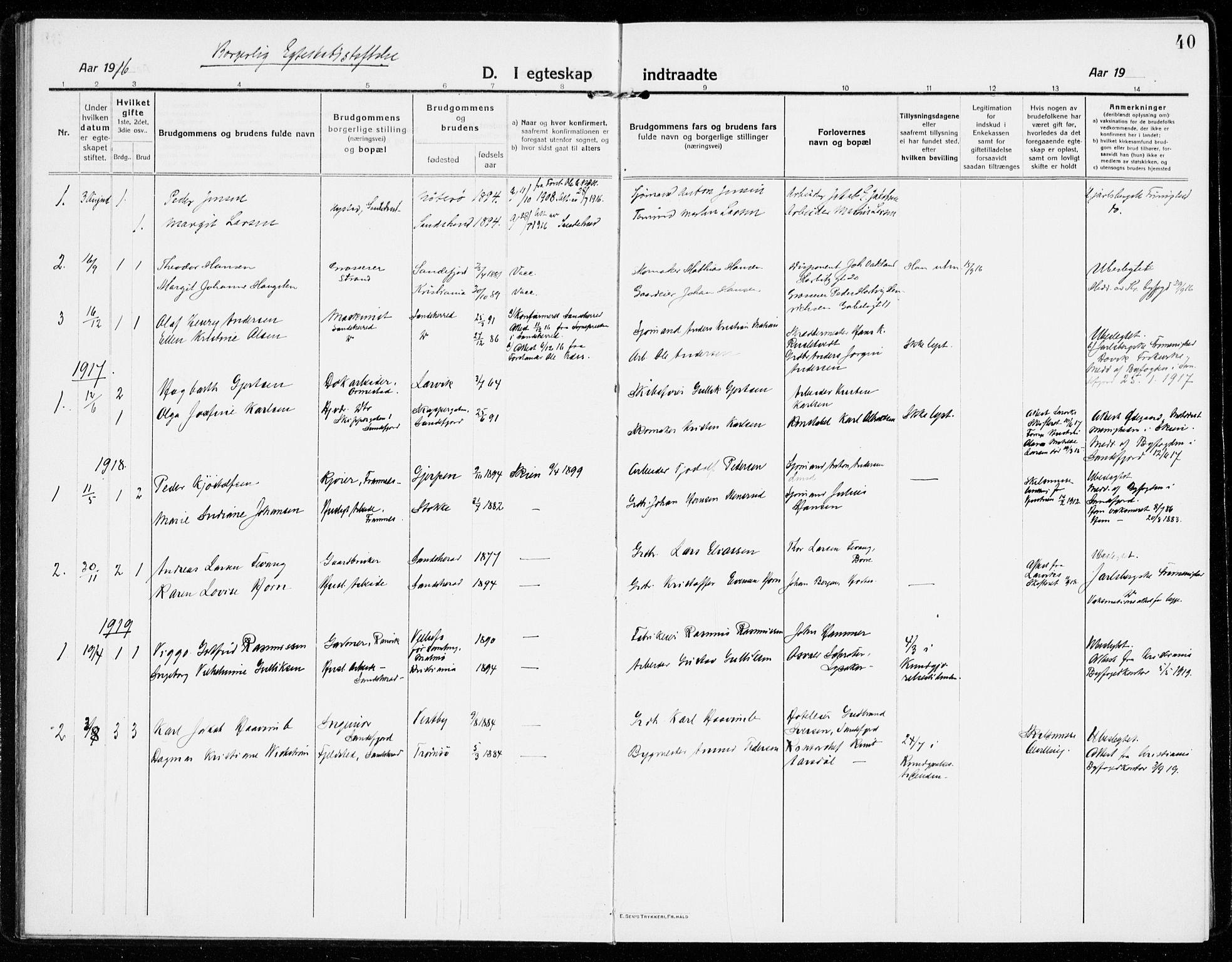 SAKO, Sandar kirkebøker, F/Fa/L0020: Ministerialbok nr. 20, 1915-1919, s. 40