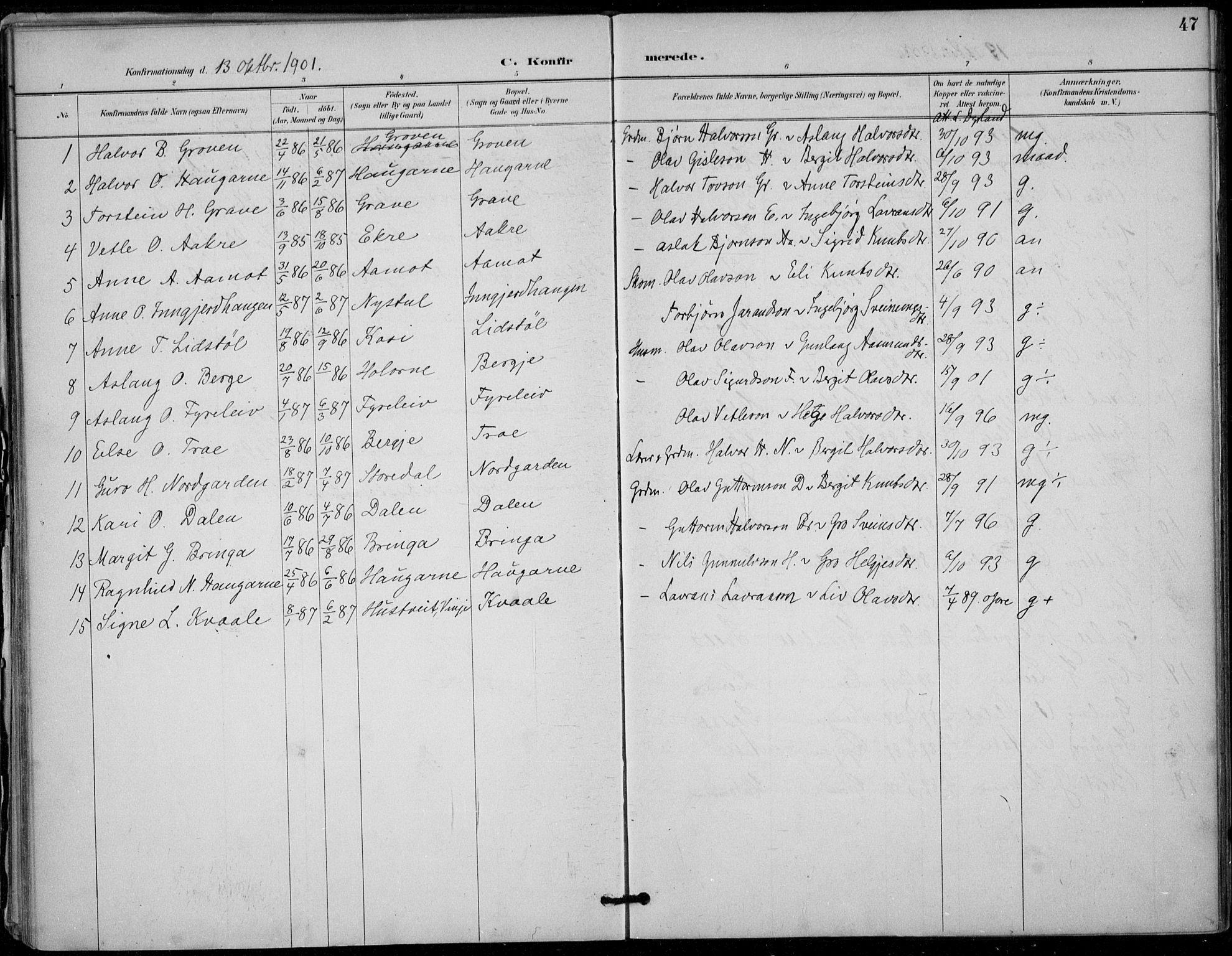 SAKO, Seljord kirkebøker, F/Fc/L0002: Ministerialbok nr. III 2, 1887-1920, s. 47