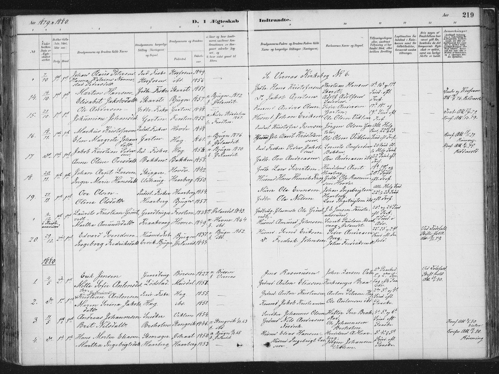 SAT, Ministerialprotokoller, klokkerbøker og fødselsregistre - Sør-Trøndelag, 659/L0739: Ministerialbok nr. 659A09, 1879-1893, s. 219