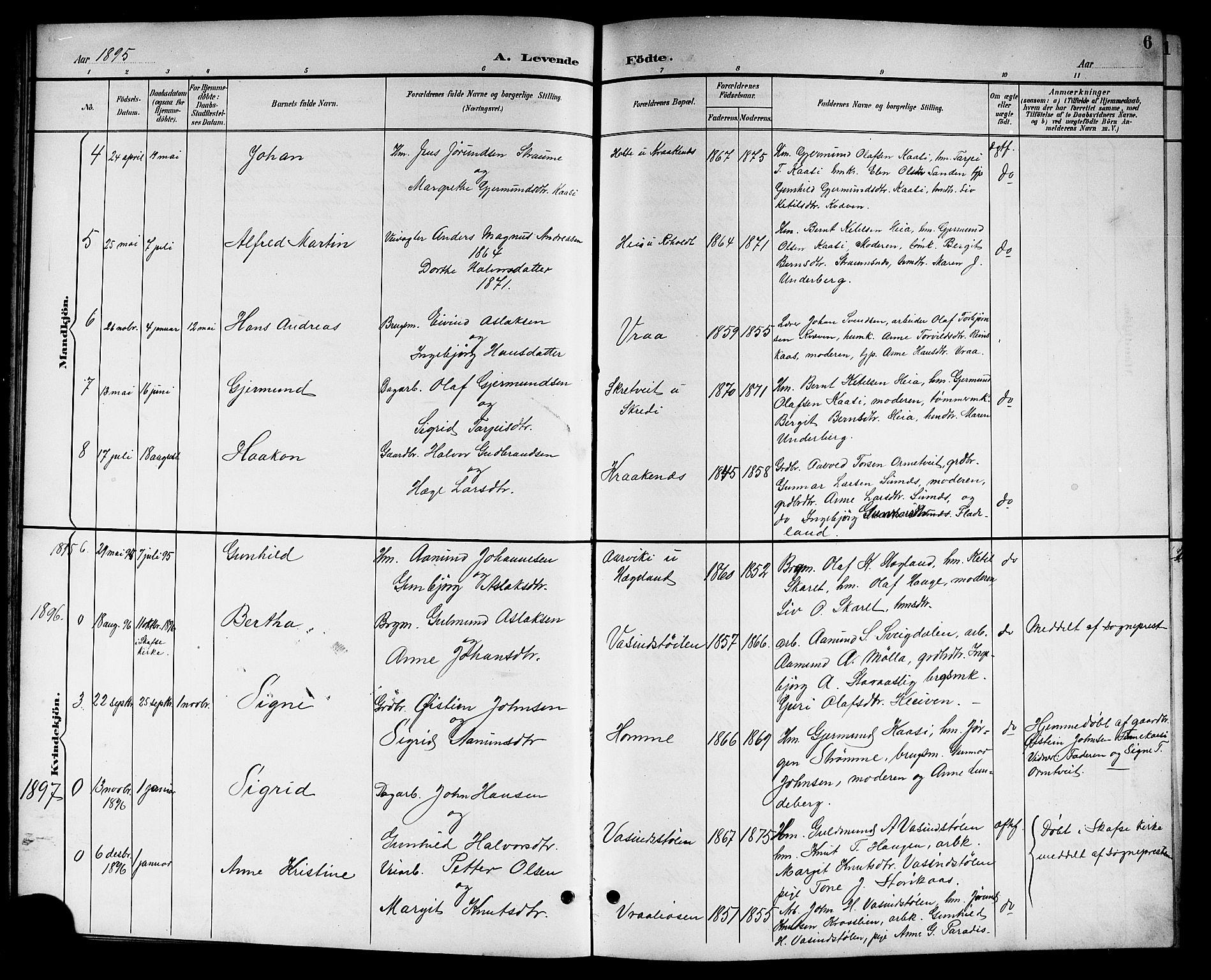 SAKO, Kviteseid kirkebøker, G/Gc/L0001: Klokkerbok nr. III 1, 1893-1916, s. 6