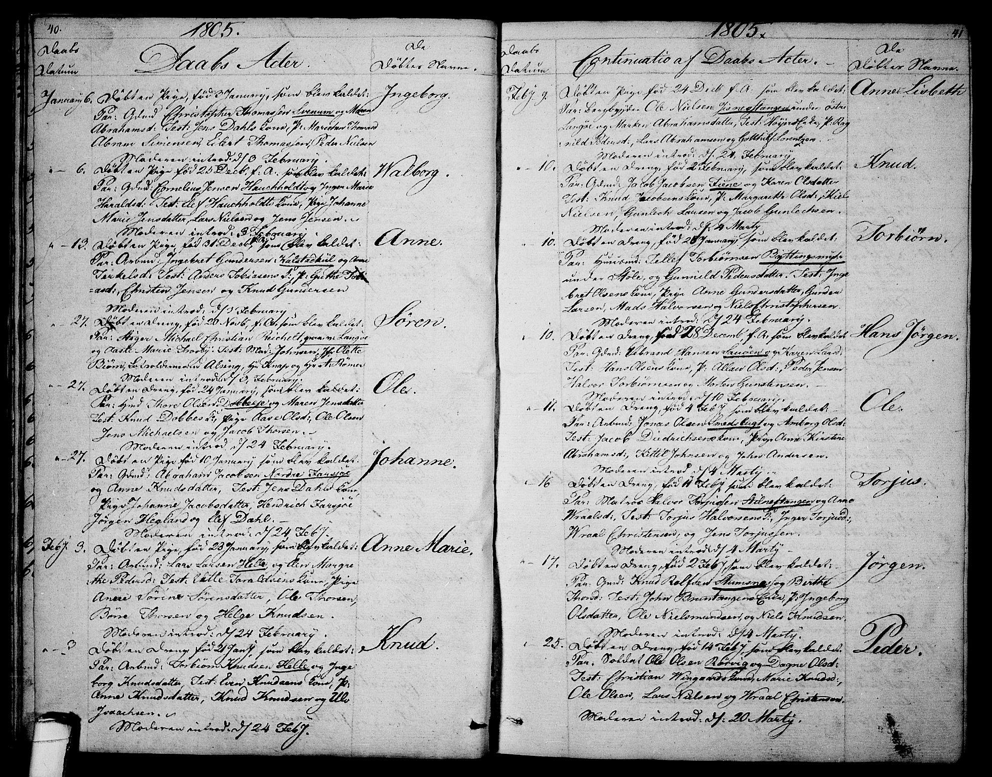 SAKO, Sannidal kirkebøker, F/Fa/L0003: Ministerialbok nr. 3, 1803-1813, s. 40-41