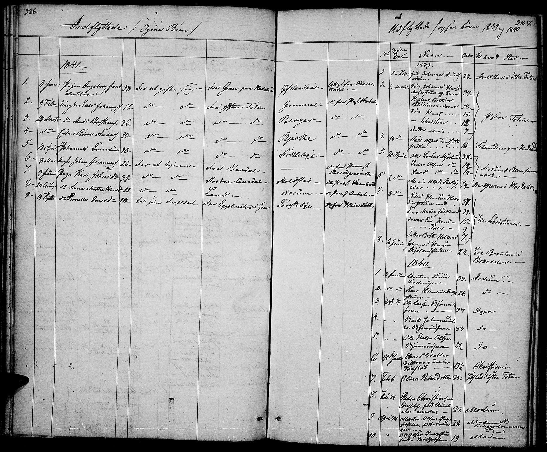 SAH, Vestre Toten prestekontor, Ministerialbok nr. 3, 1836-1843, s. 326-327