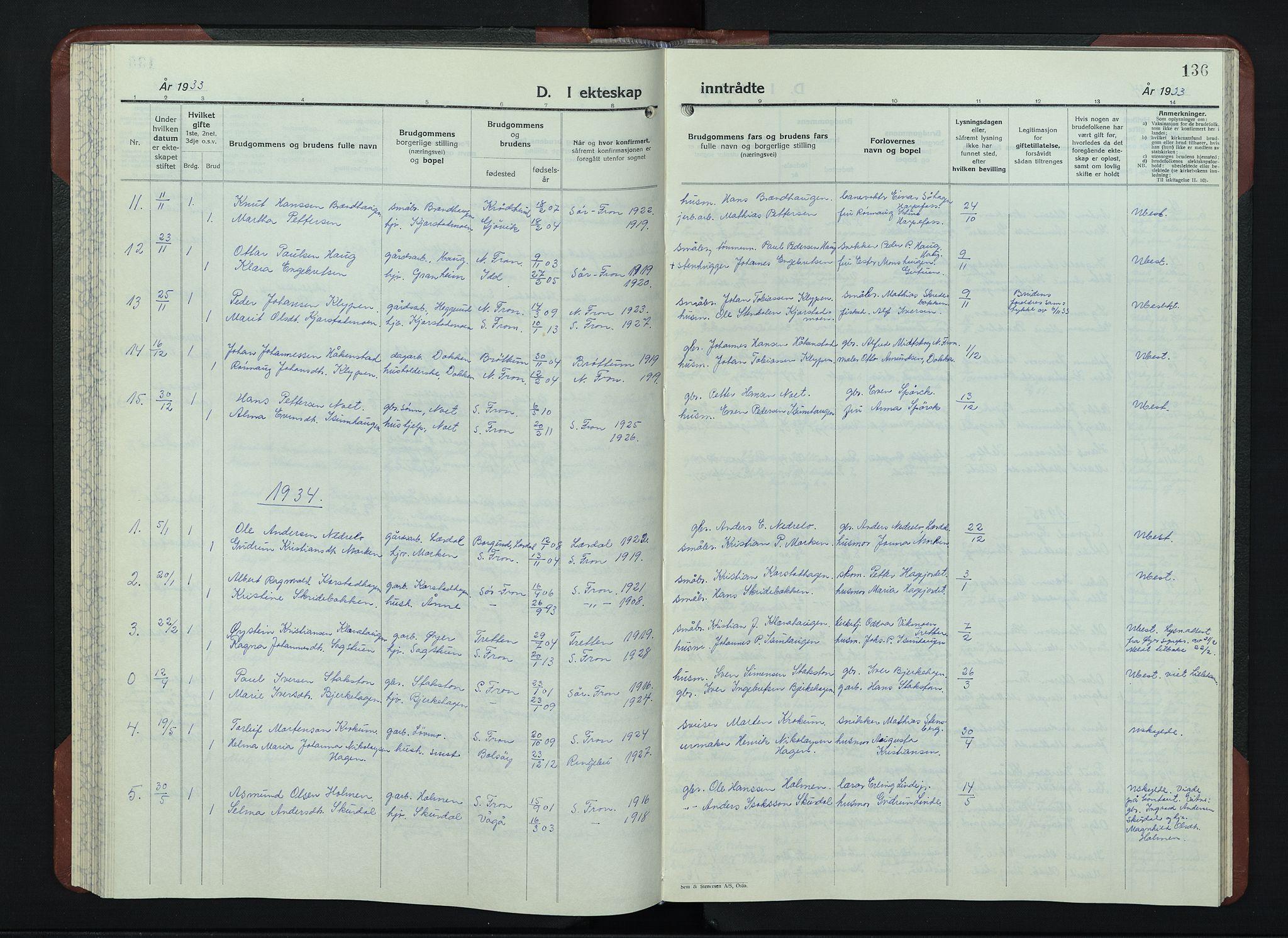 SAH, Sør-Fron prestekontor, H/Ha/Hab/L0006: Klokkerbok nr. 6, 1933-1948, s. 136
