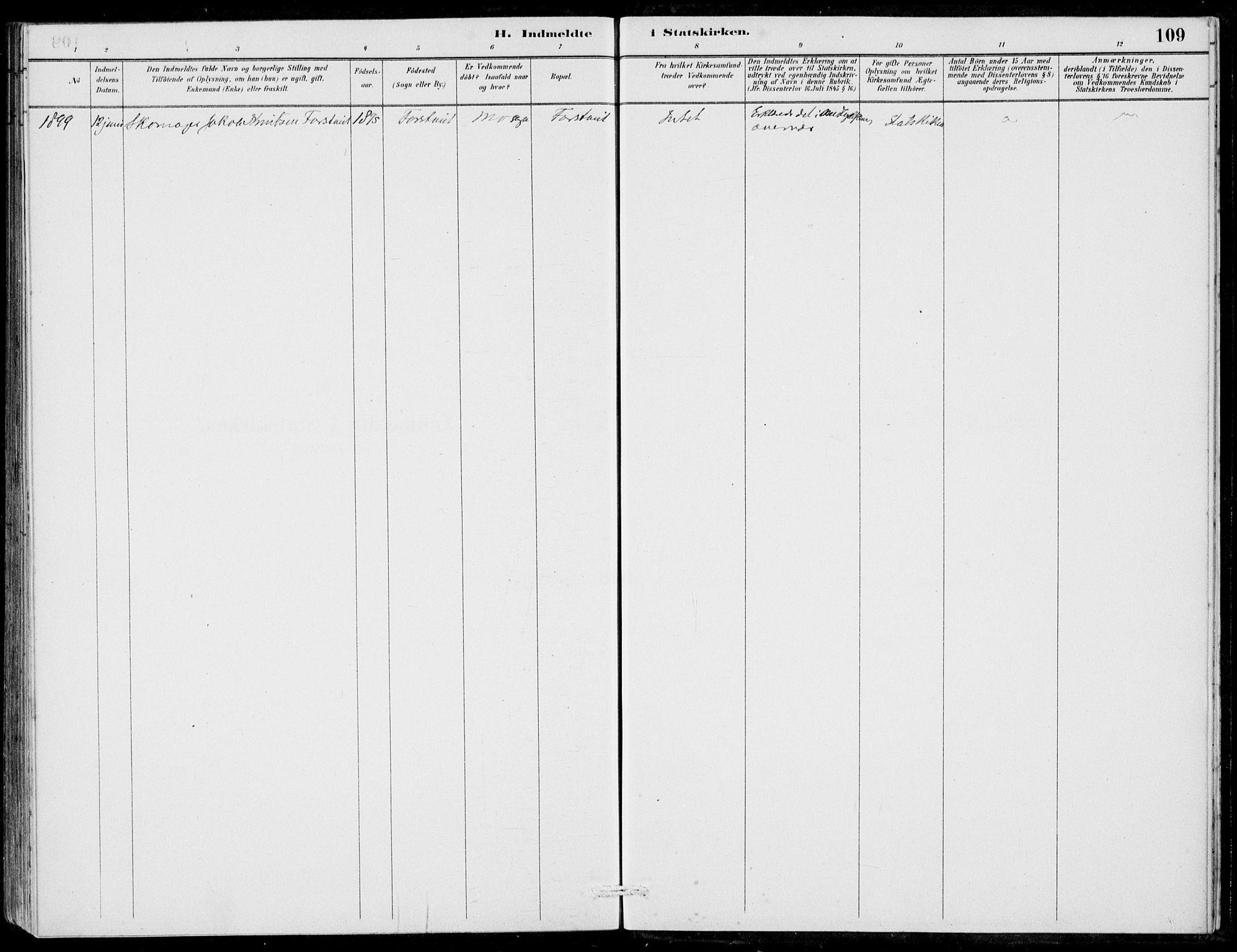 SAB, Hosanger Sokneprestembete, H/Haa: Ministerialbok nr. C  1, 1880-1900, s. 109