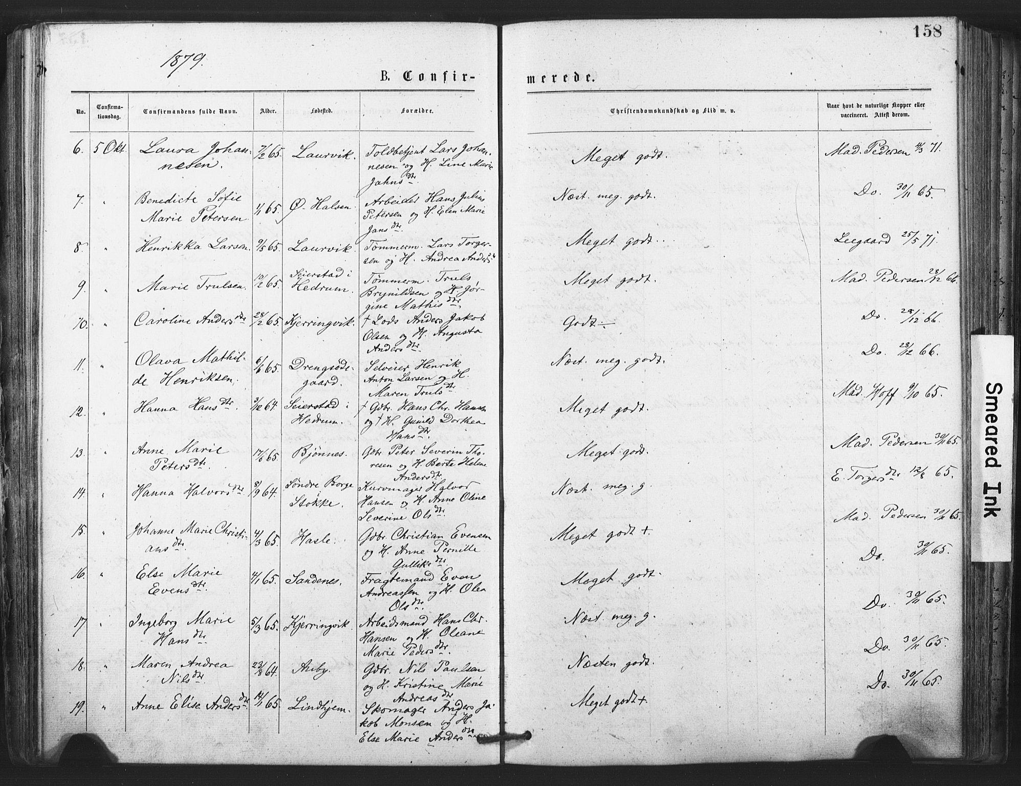 SAKO, Tjølling kirkebøker, F/Fa/L0008: Ministerialbok nr. 8, 1877-1886, s. 158