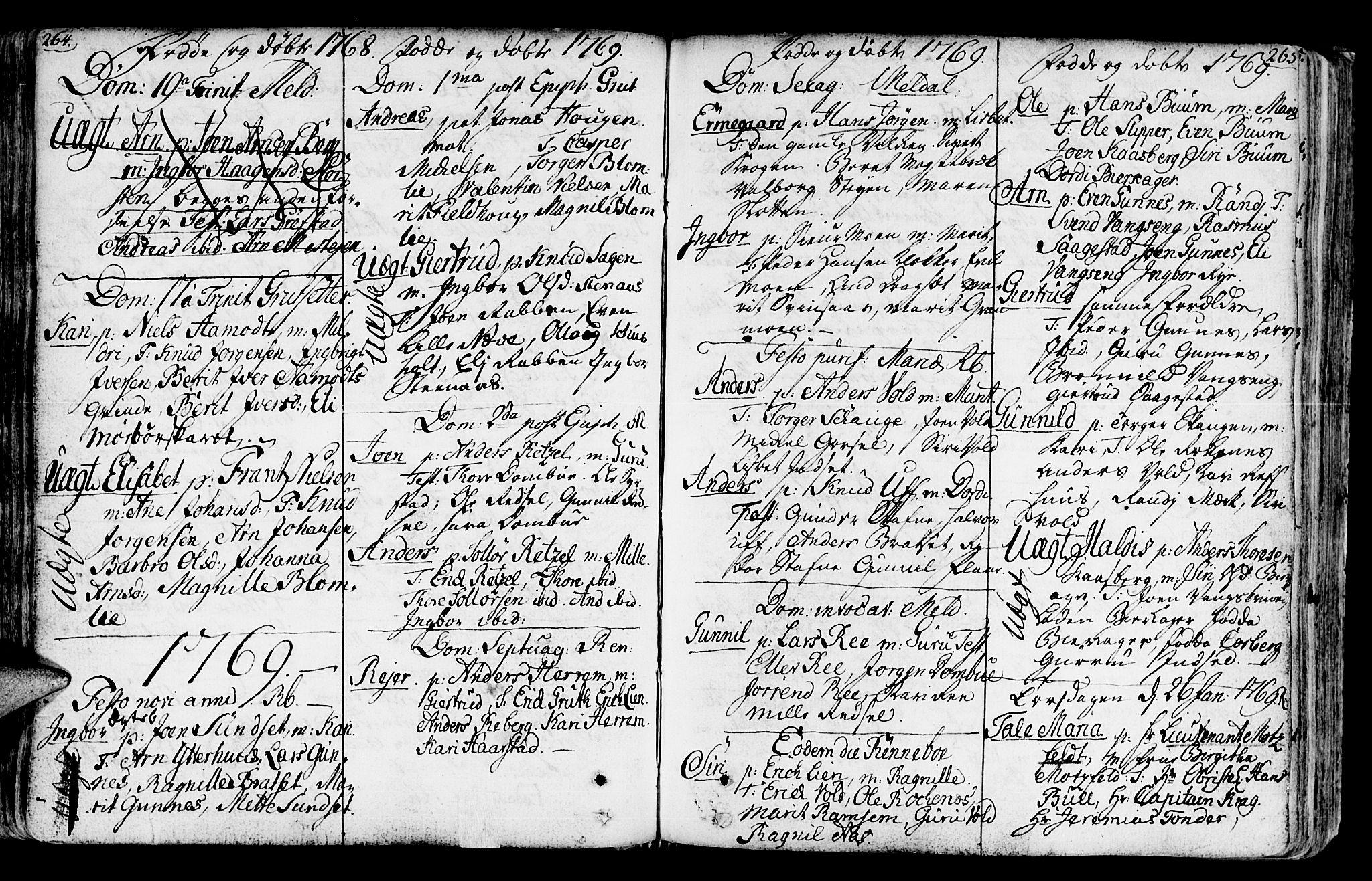 SAT, Ministerialprotokoller, klokkerbøker og fødselsregistre - Sør-Trøndelag, 672/L0851: Ministerialbok nr. 672A04, 1751-1775, s. 264-265