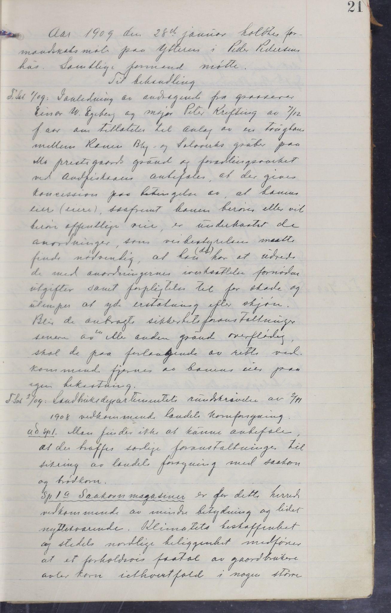 AIN, Mo kommune. Formannskapet, A/Aa/L0005: Møtebok, 1909-1915, s. 21