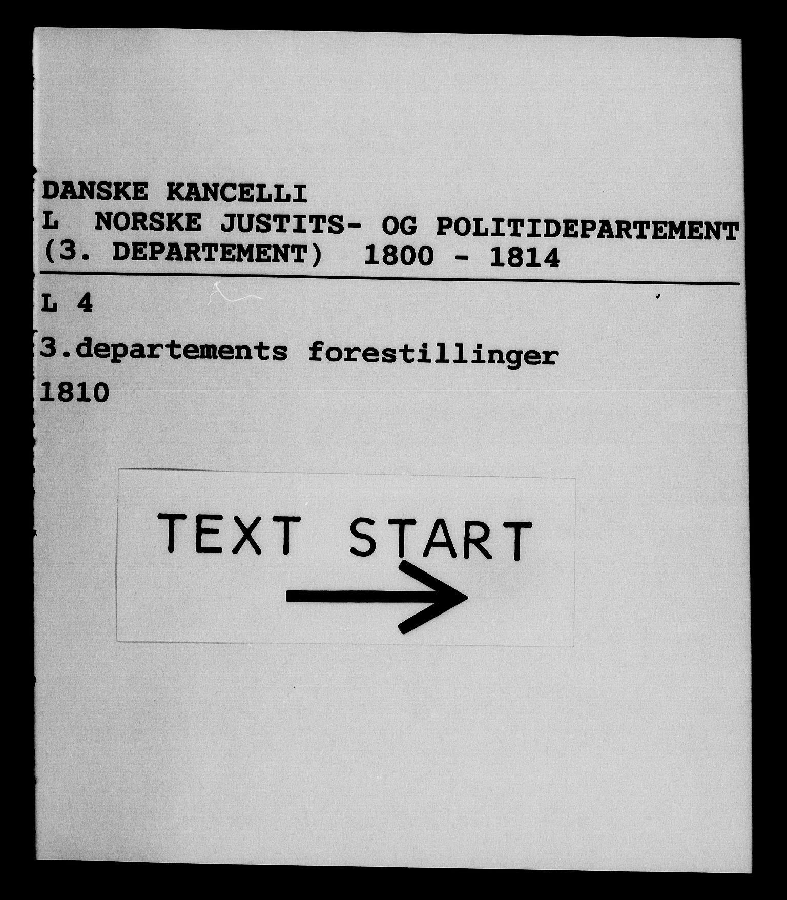 RA, Danske Kanselli 1800-1814, H/Hf/Hfa/Hfab/L0011: Forestillinger, 1810