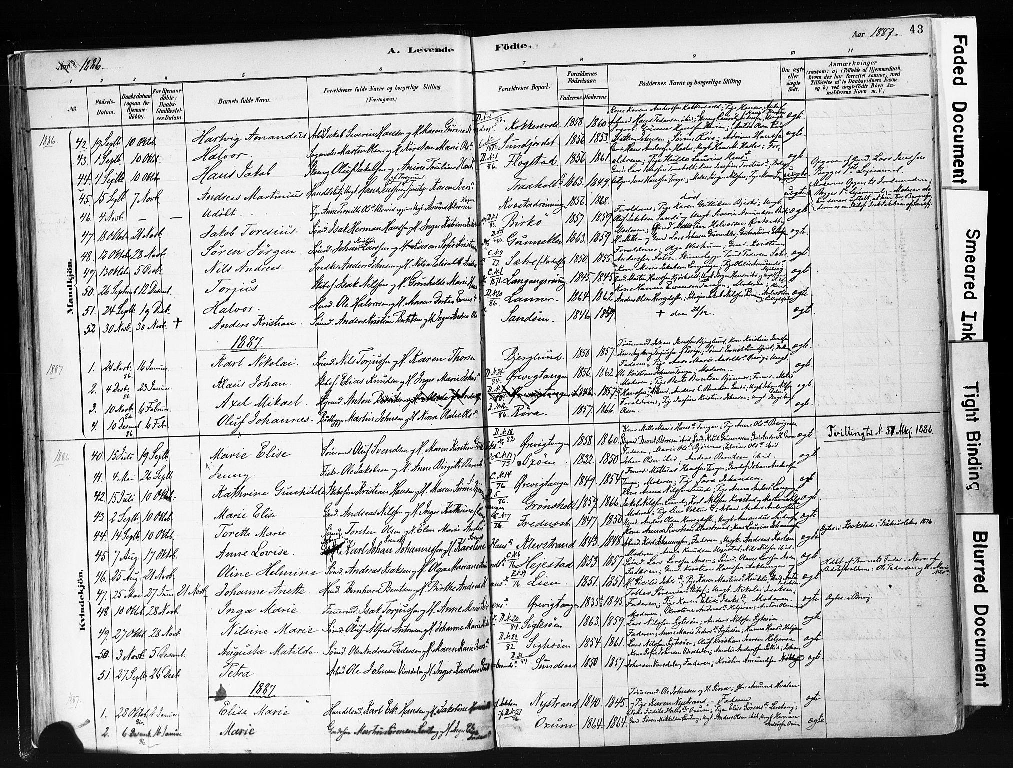 SAKO, Eidanger kirkebøker, F/Fa/L0012: Ministerialbok nr. 12, 1879-1900, s. 43