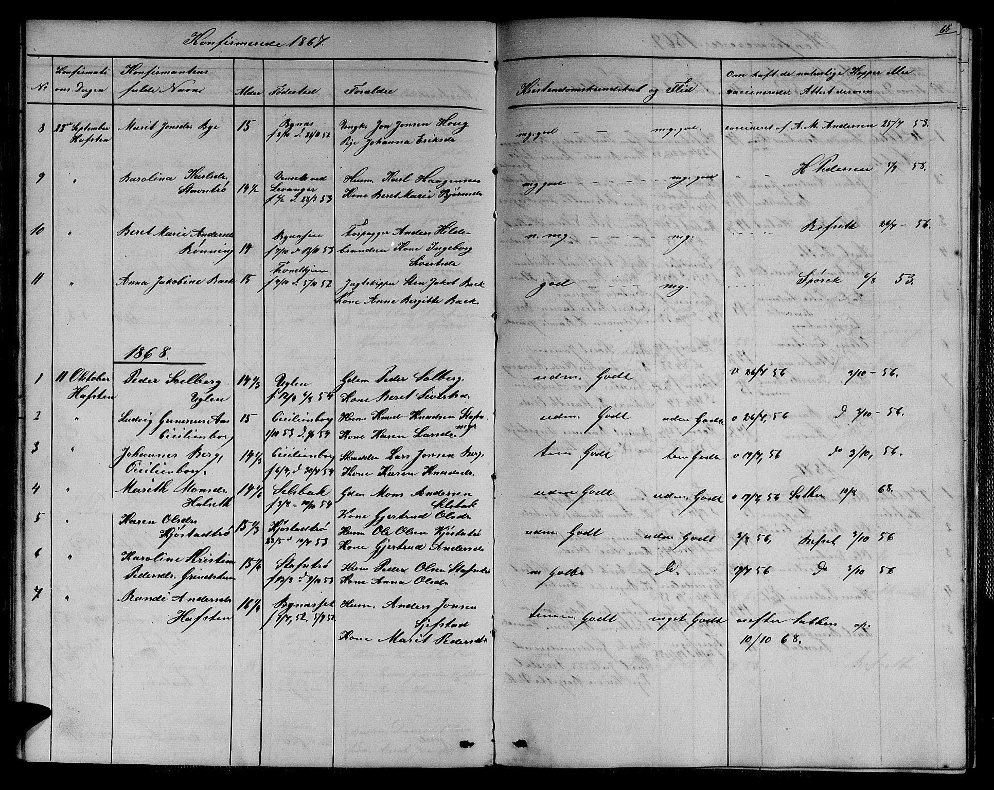 SAT, Ministerialprotokoller, klokkerbøker og fødselsregistre - Sør-Trøndelag, 611/L0353: Klokkerbok nr. 611C01, 1854-1881, s. 65