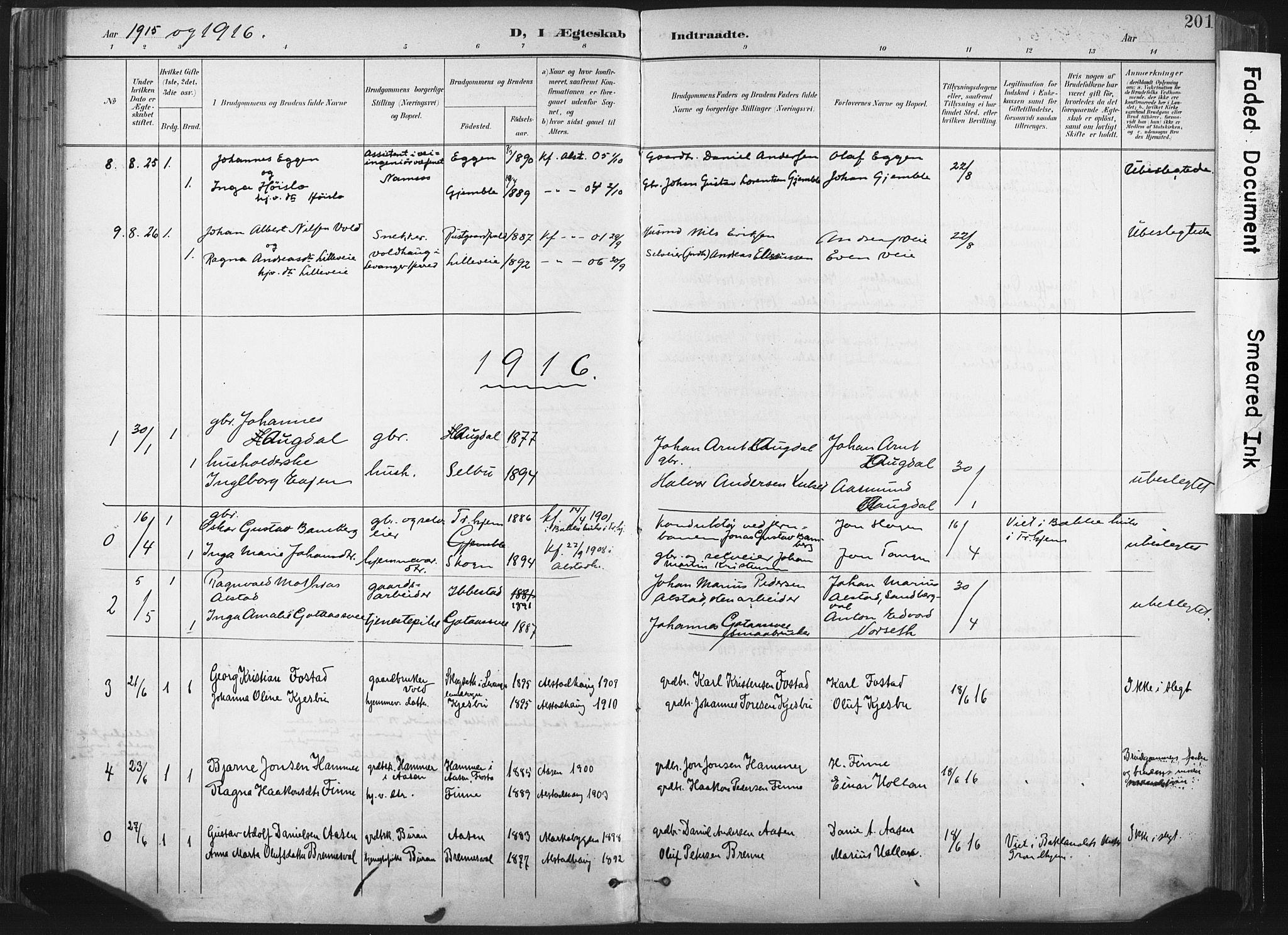 SAT, Ministerialprotokoller, klokkerbøker og fødselsregistre - Nord-Trøndelag, 717/L0162: Ministerialbok nr. 717A12, 1898-1923, s. 201