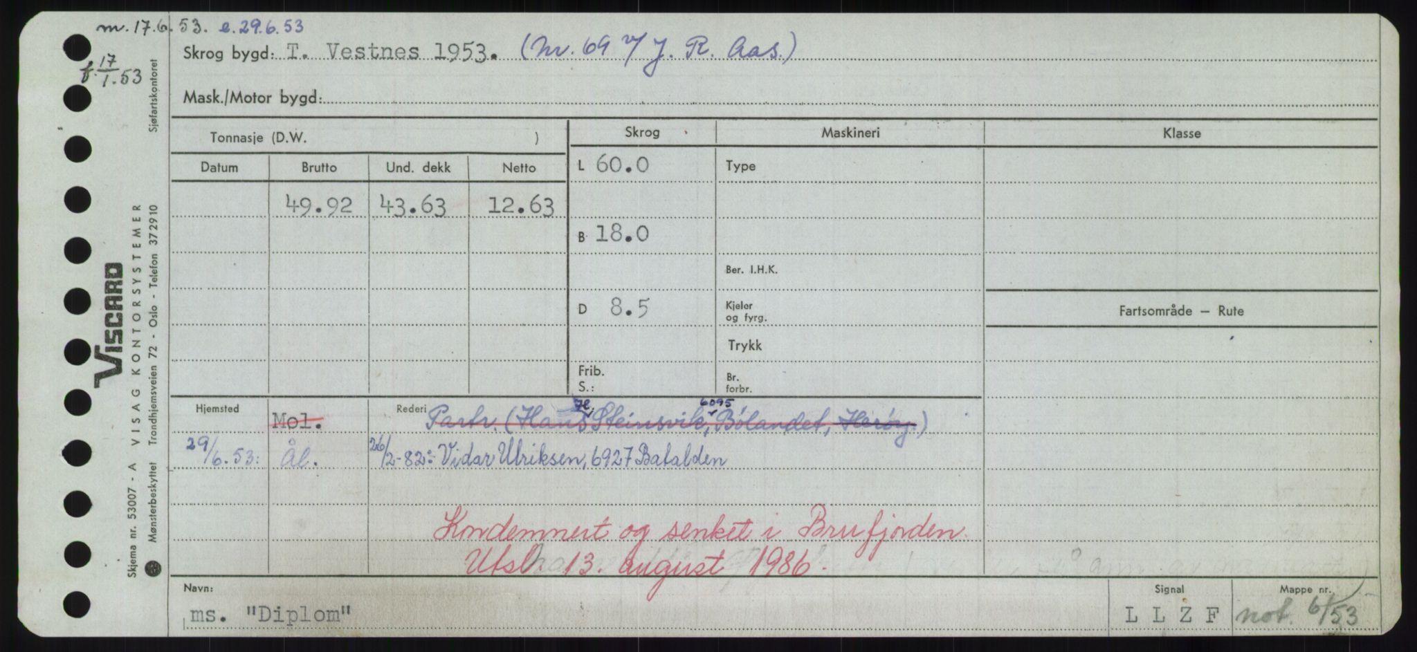 RA, Sjøfartsdirektoratet med forløpere, Skipsmålingen, H/Hd/L0008: Fartøy, C-D, s. 503