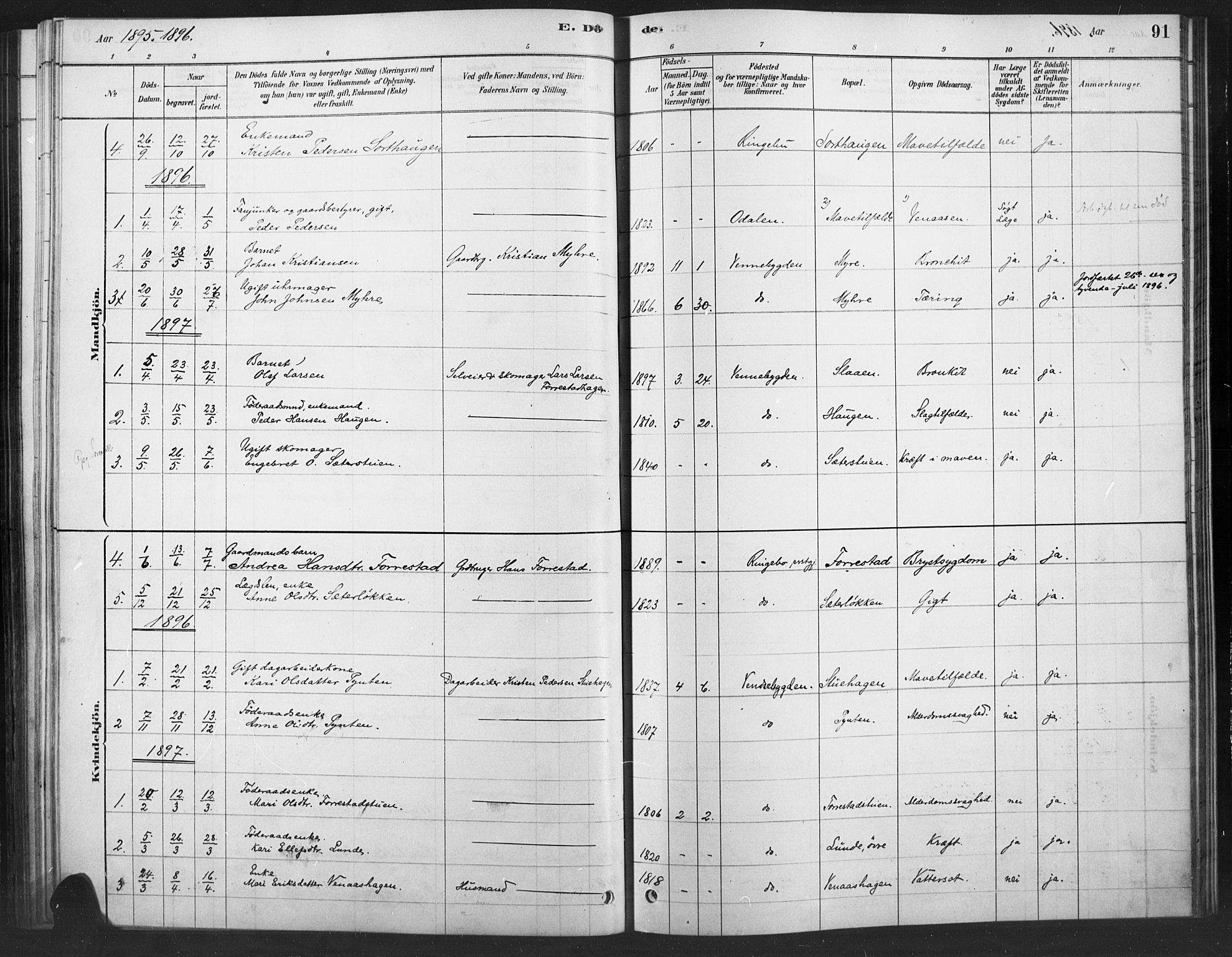 SAH, Ringebu prestekontor, Ministerialbok nr. 10, 1878-1898, s. 91