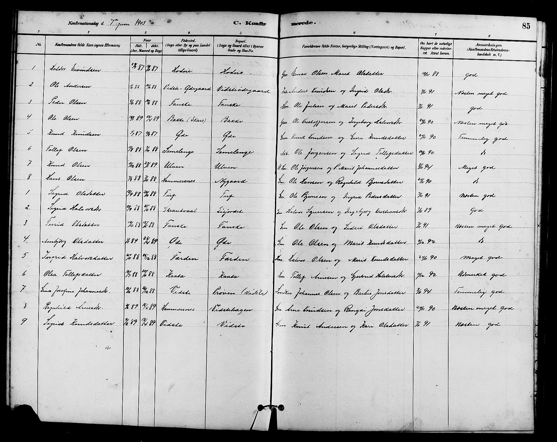 SAH, Vestre Slidre prestekontor, Klokkerbok nr. 5, 1881-1913, s. 85