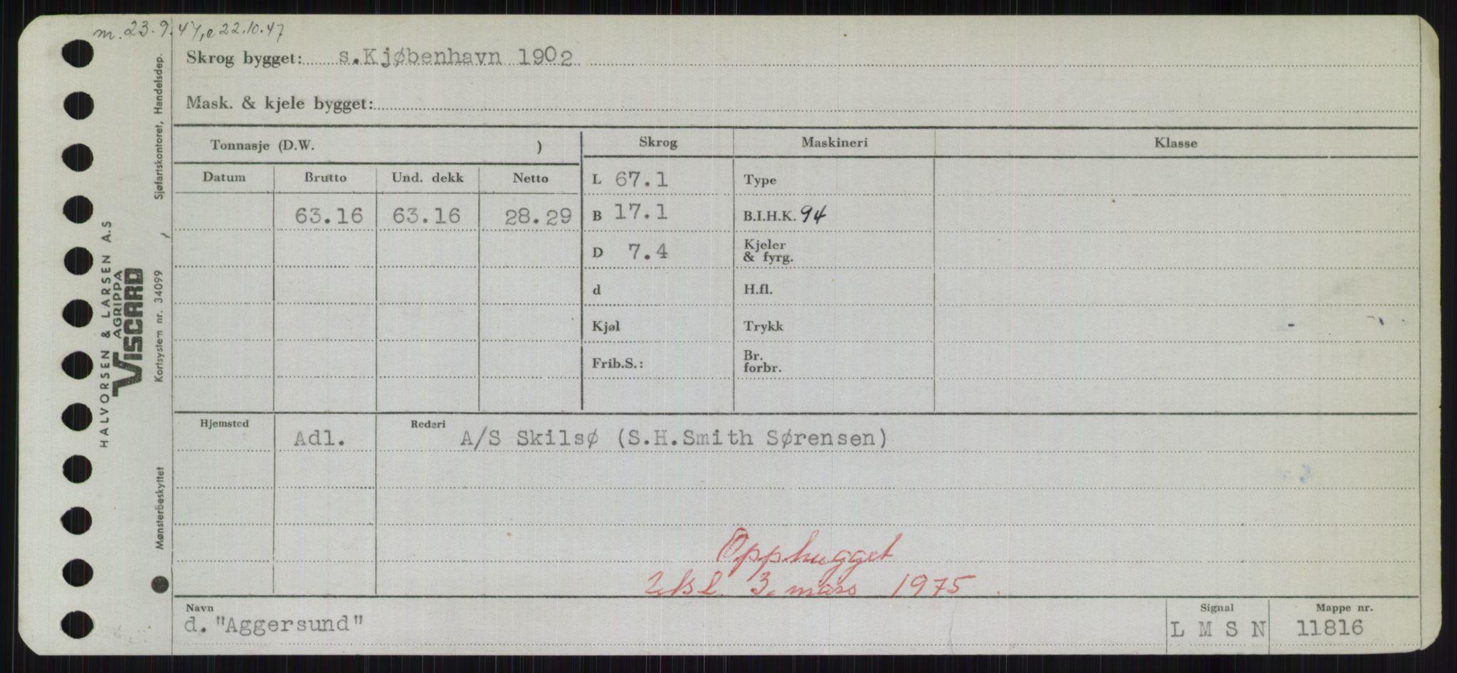 RA, Sjøfartsdirektoratet med forløpere, Skipsmålingen, H/Hd/L0001: Fartøy, A-Anv, s. 127