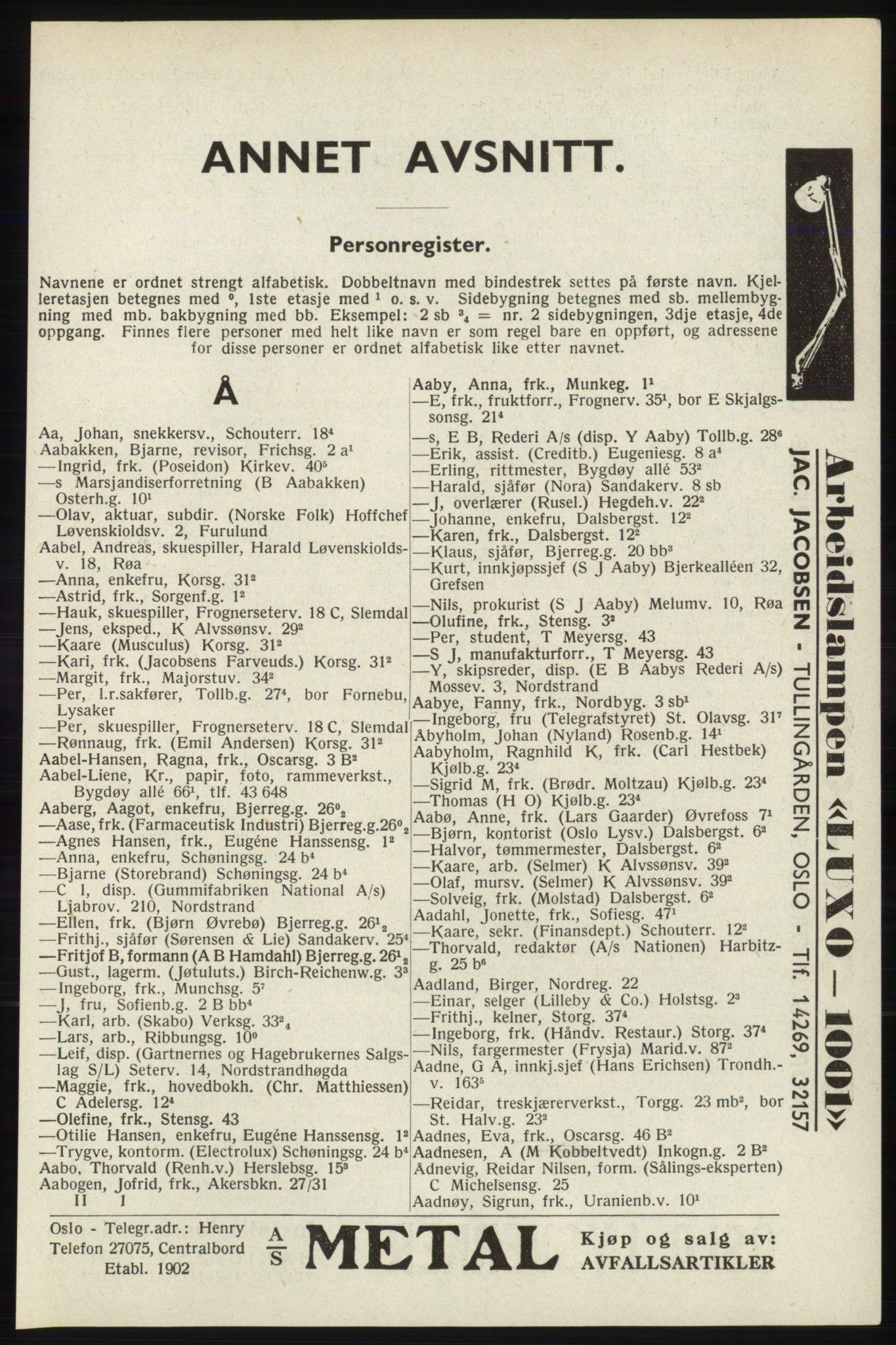 RA, Oslo adressebok (publikasjon)*, 1940, s. 45