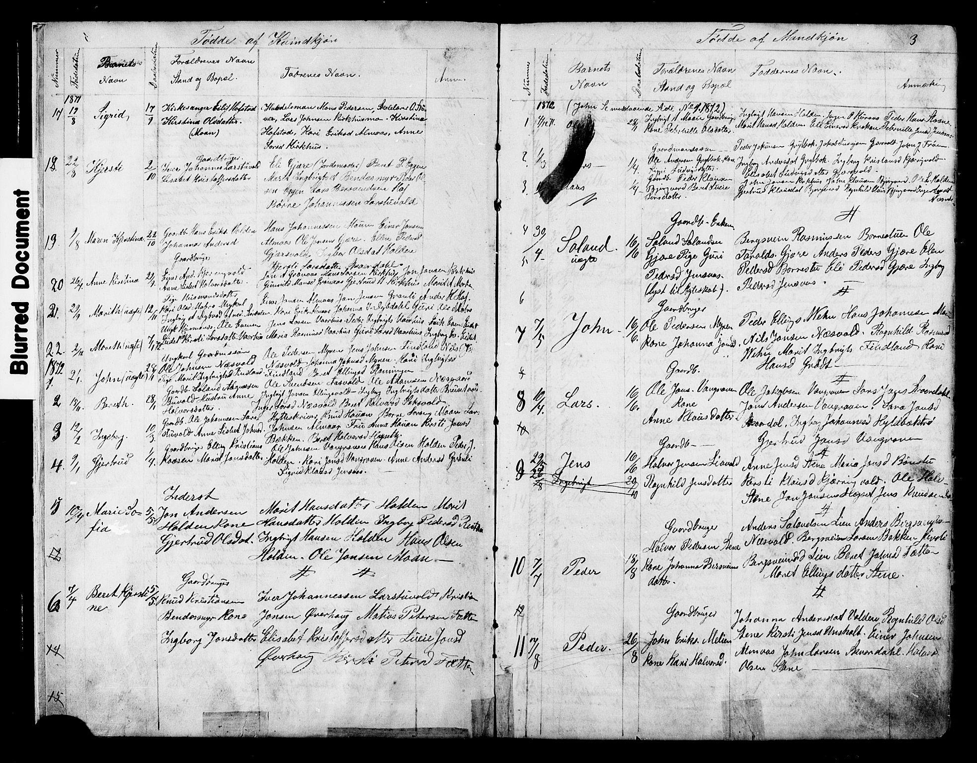 SAT, Ministerialprotokoller, klokkerbøker og fødselsregistre - Sør-Trøndelag, 686/L0985: Klokkerbok nr. 686C01, 1871-1933, s. 3