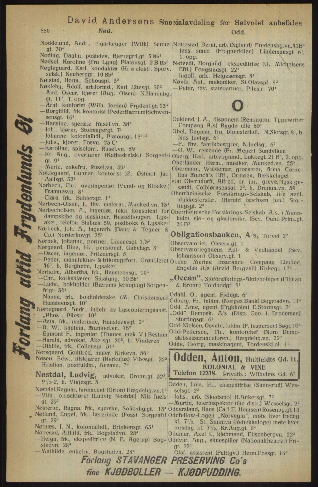 RA, Kristiania adressebok (publikasjon)*, 1914, s. 880