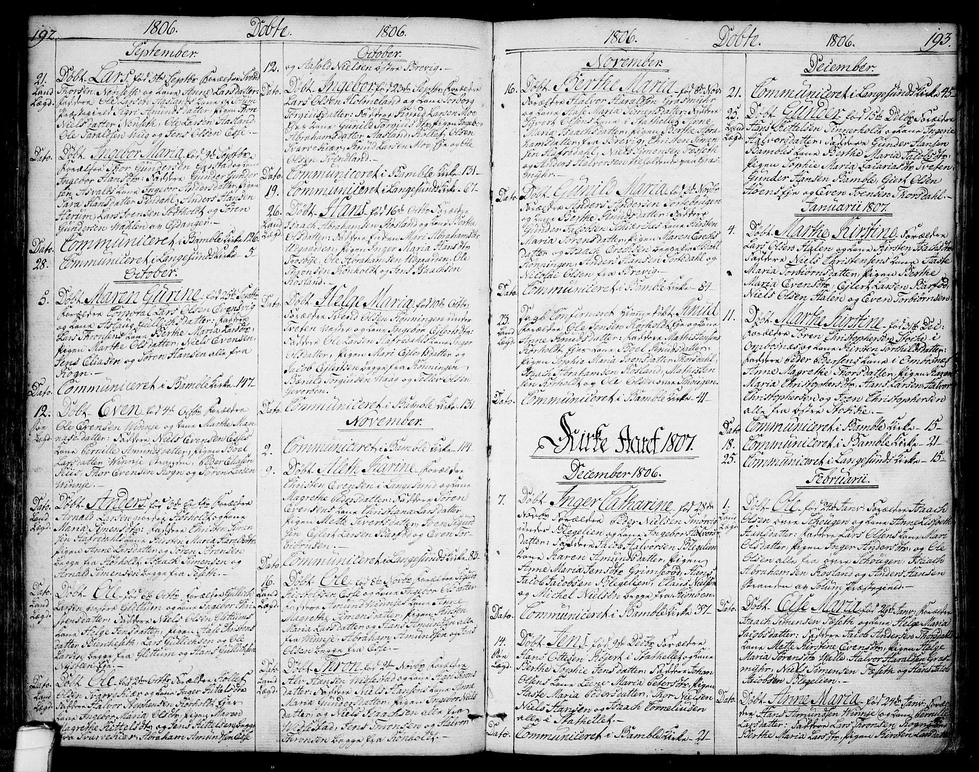 SAKO, Bamble kirkebøker, F/Fa/L0002: Ministerialbok nr. I 2, 1775-1814, s. 192-193