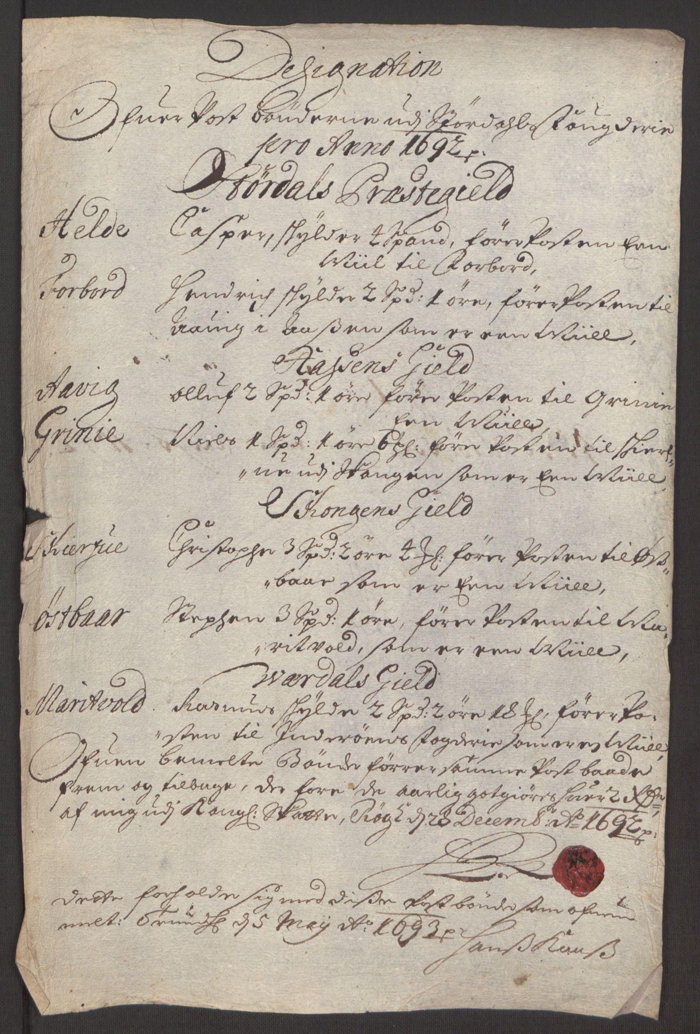 RA, Rentekammeret inntil 1814, Reviderte regnskaper, Fogderegnskap, R62/L4185: Fogderegnskap Stjørdal og Verdal, 1692, s. 216