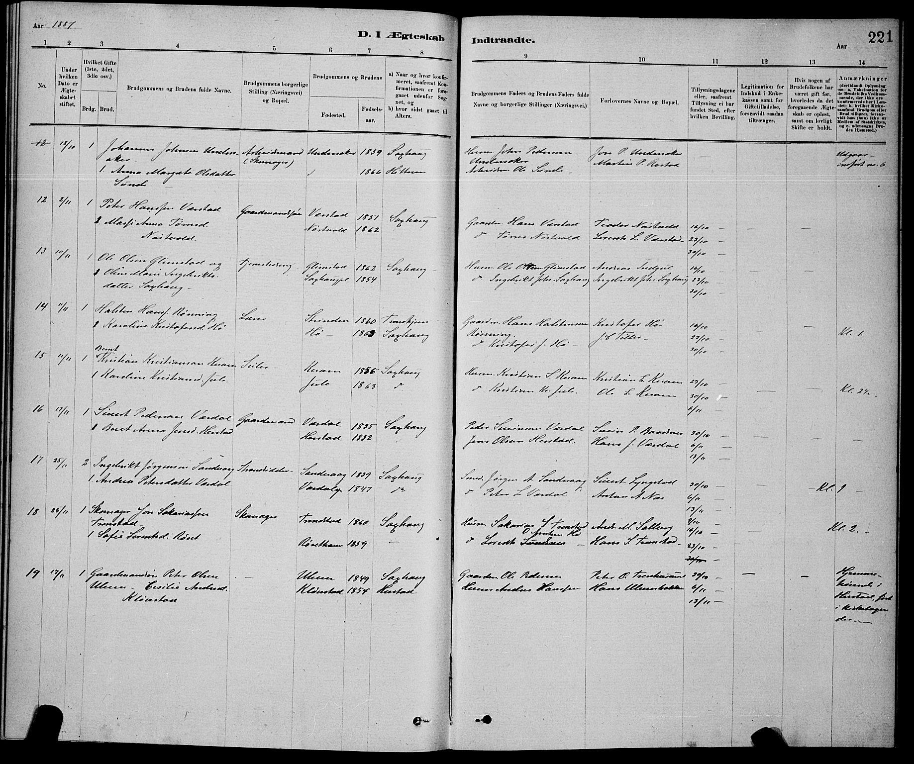 SAT, Ministerialprotokoller, klokkerbøker og fødselsregistre - Nord-Trøndelag, 730/L0301: Klokkerbok nr. 730C04, 1880-1897, s. 221