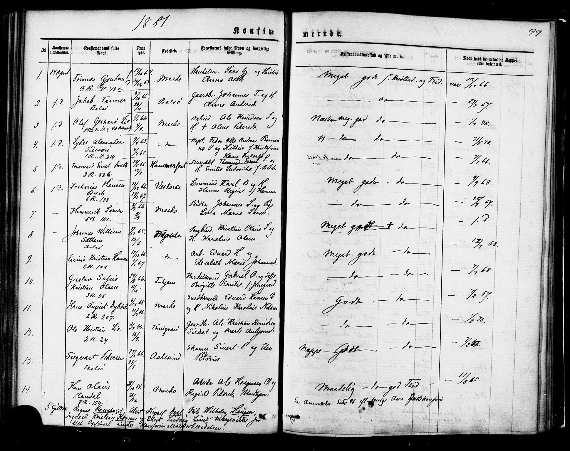 SAT, Ministerialprotokoller, klokkerbøker og fødselsregistre - Møre og Romsdal, 558/L0691: Ministerialbok nr. 558A05, 1873-1886, s. 99