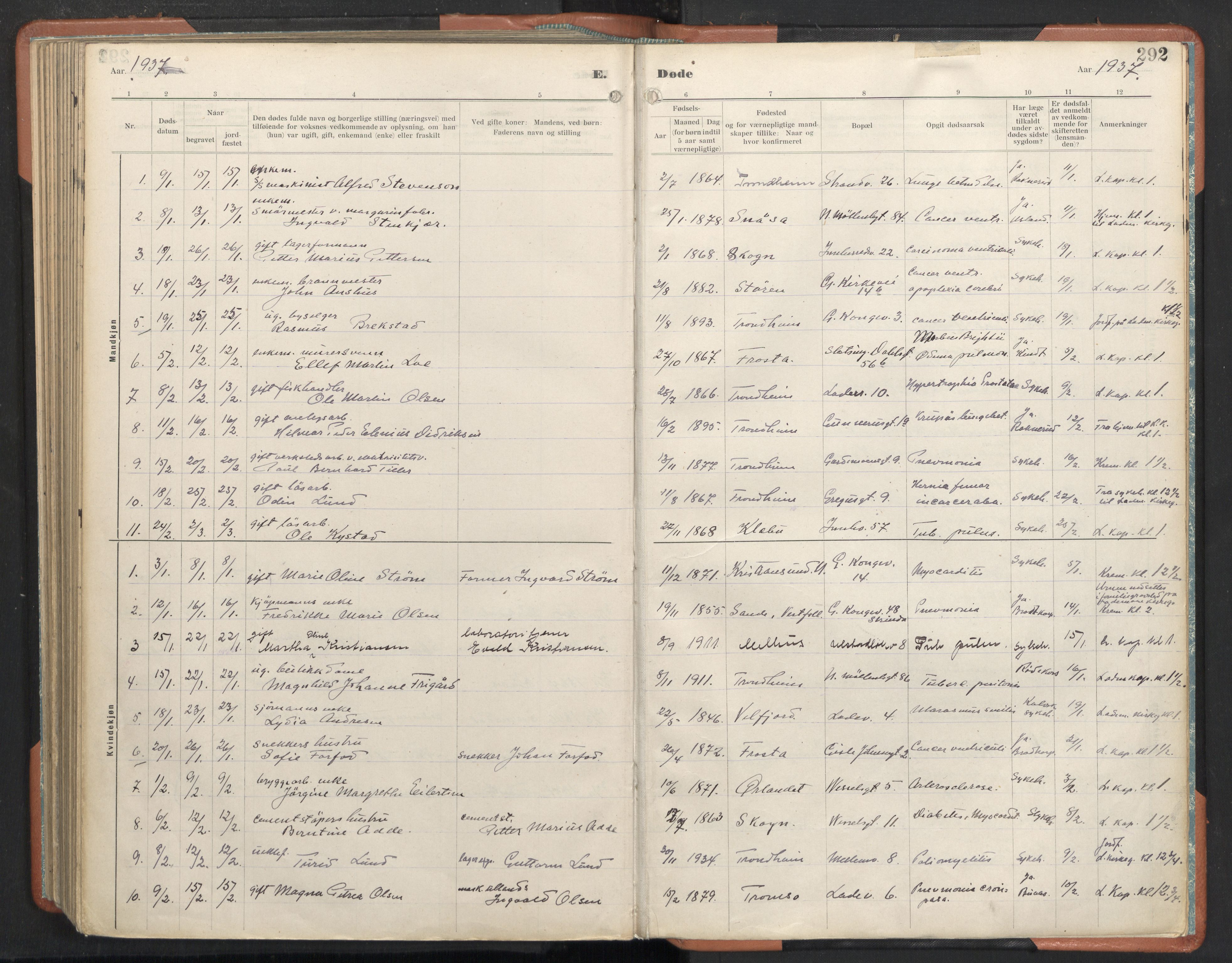 SAT, Ministerialprotokoller, klokkerbøker og fødselsregistre - Sør-Trøndelag, 605/L0245: Ministerialbok nr. 605A07, 1916-1938, s. 292