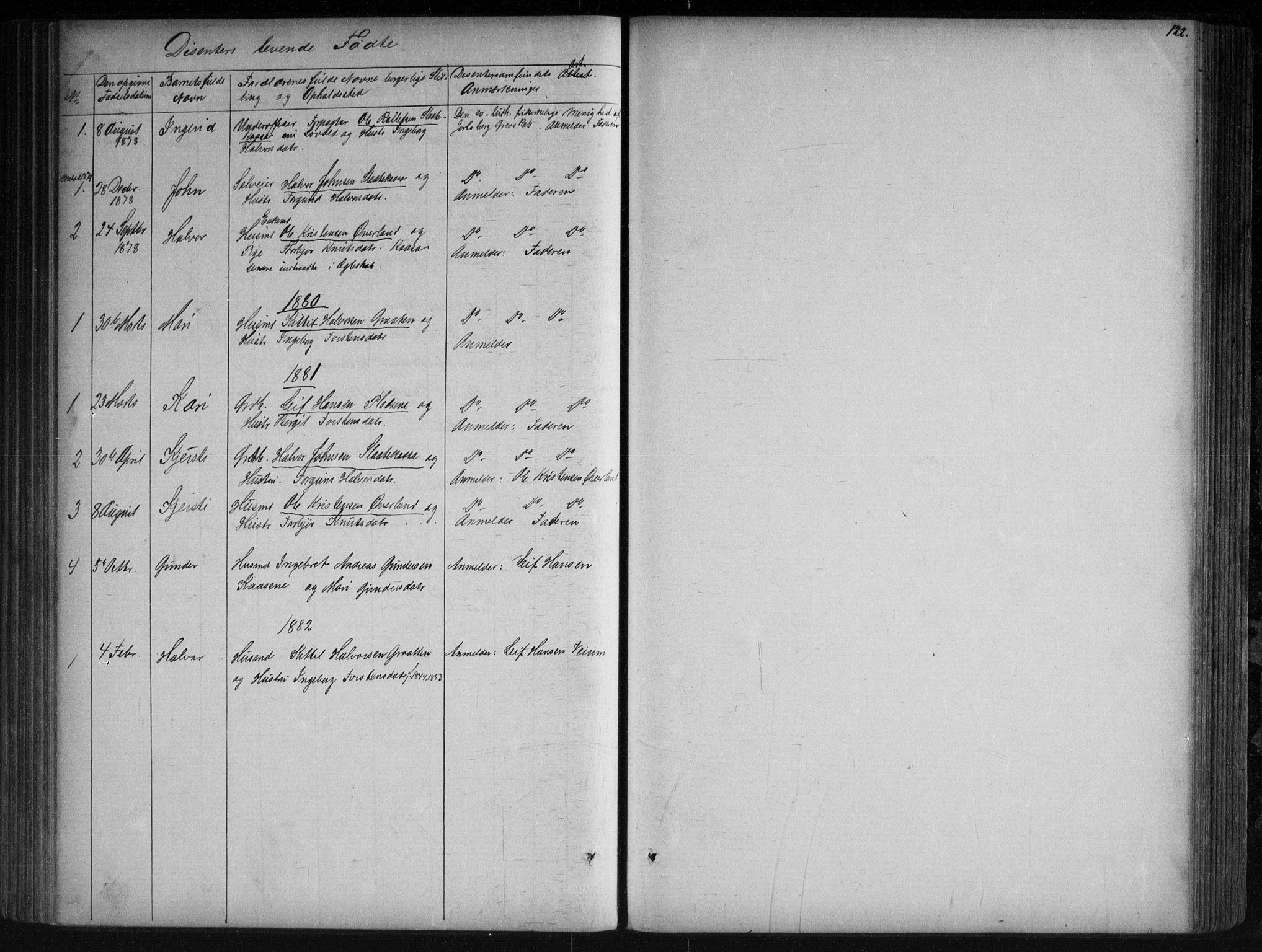 SAKO, Sauherad kirkebøker, G/Ga/L0003: Klokkerbok nr. I 3, 1866-1905, s. 122