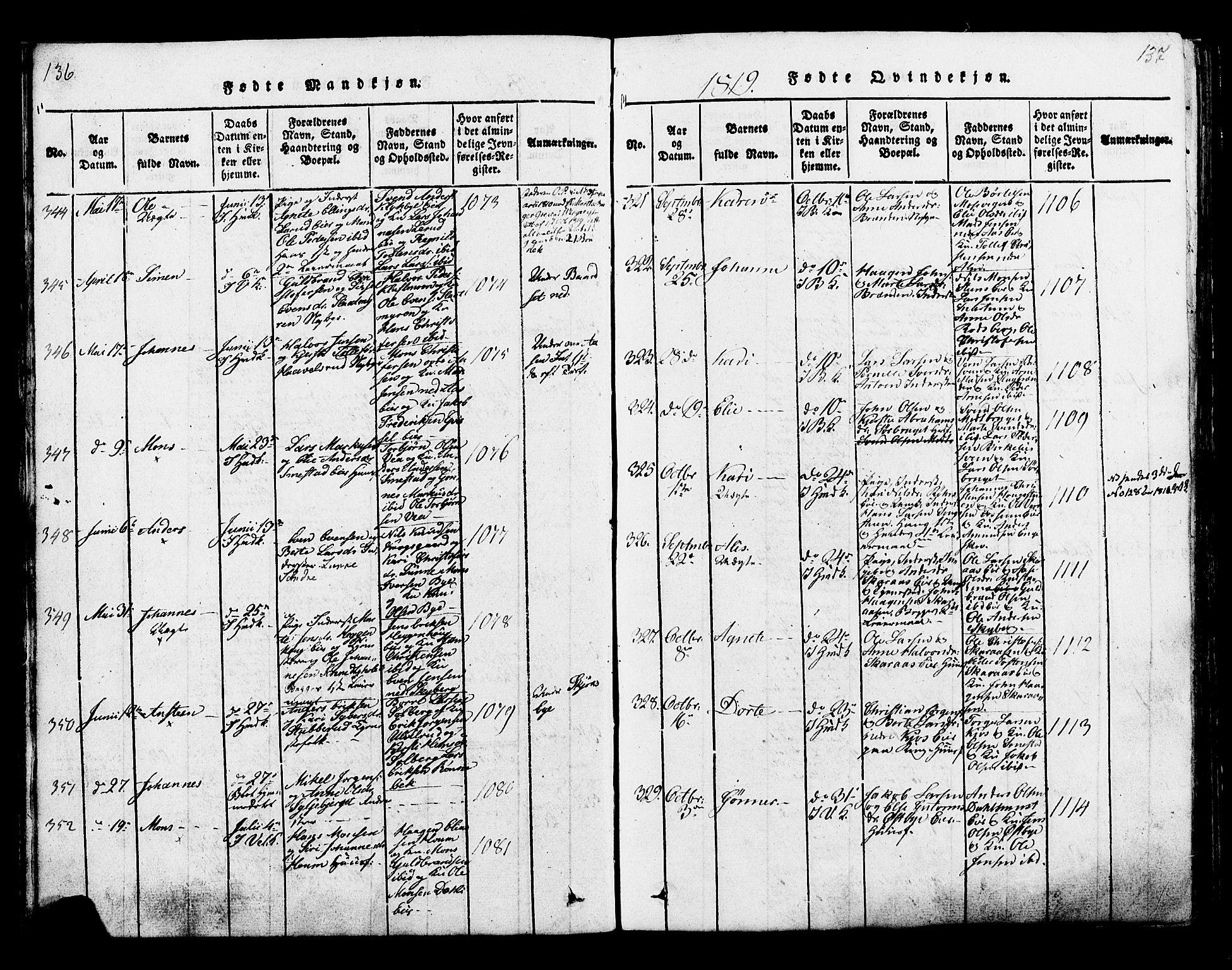 SAH, Ringsaker prestekontor, K/Ka/L0005: Ministerialbok nr. 5, 1814-1826, s. 136-137