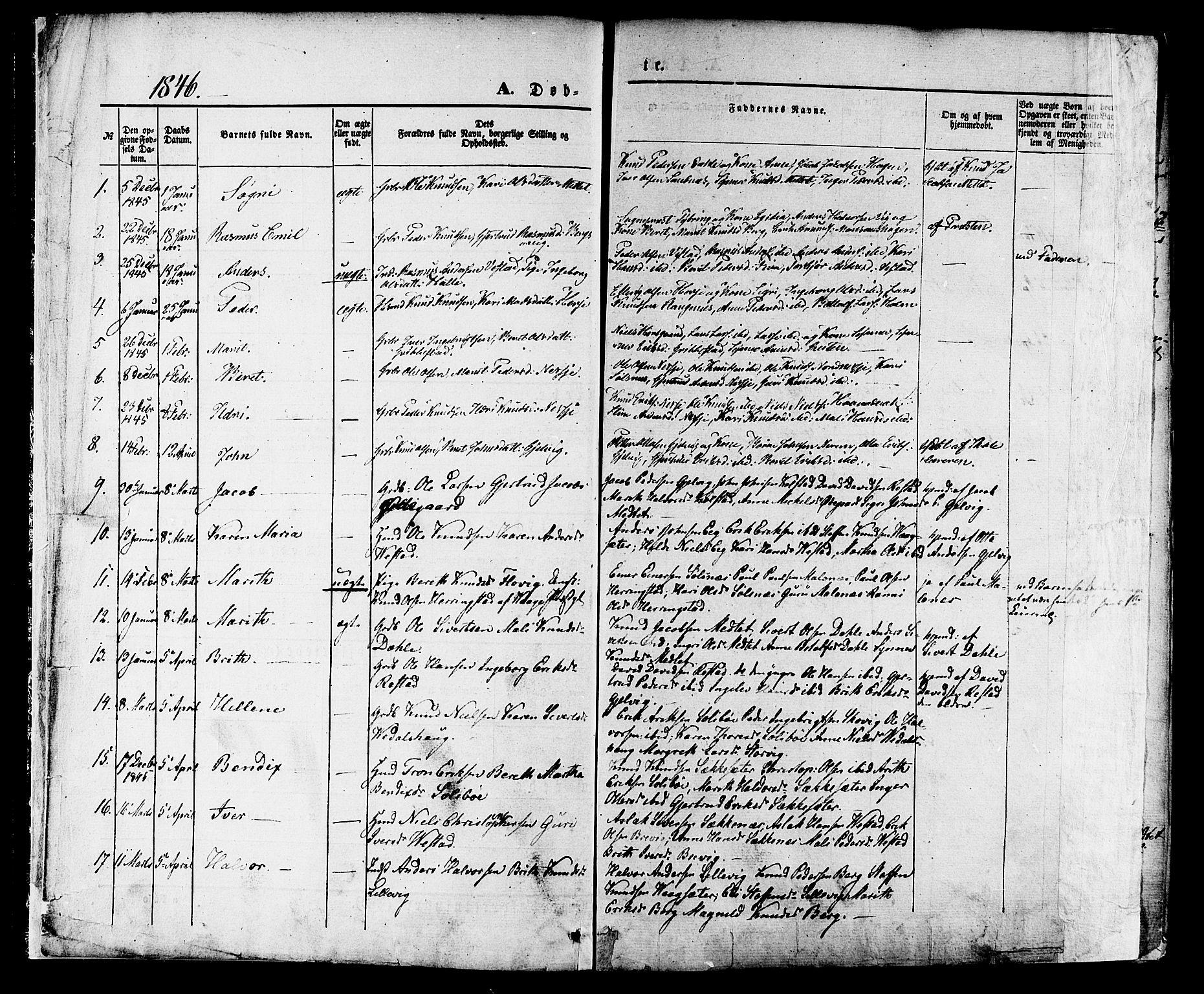 SAT, Ministerialprotokoller, klokkerbøker og fødselsregistre - Møre og Romsdal, 547/L0603: Ministerialbok nr. 547A05, 1846-1877, s. 1