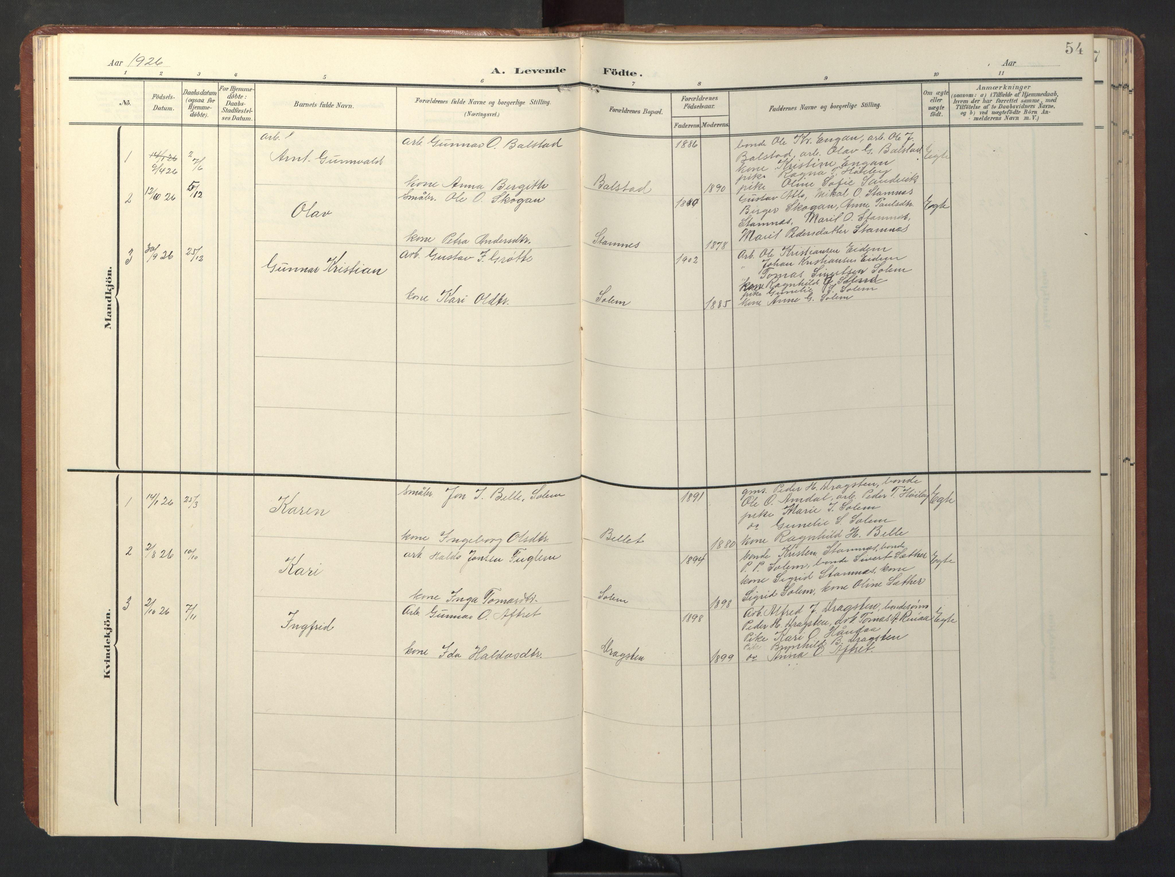 SAT, Ministerialprotokoller, klokkerbøker og fødselsregistre - Sør-Trøndelag, 696/L1161: Klokkerbok nr. 696C01, 1902-1950, s. 54