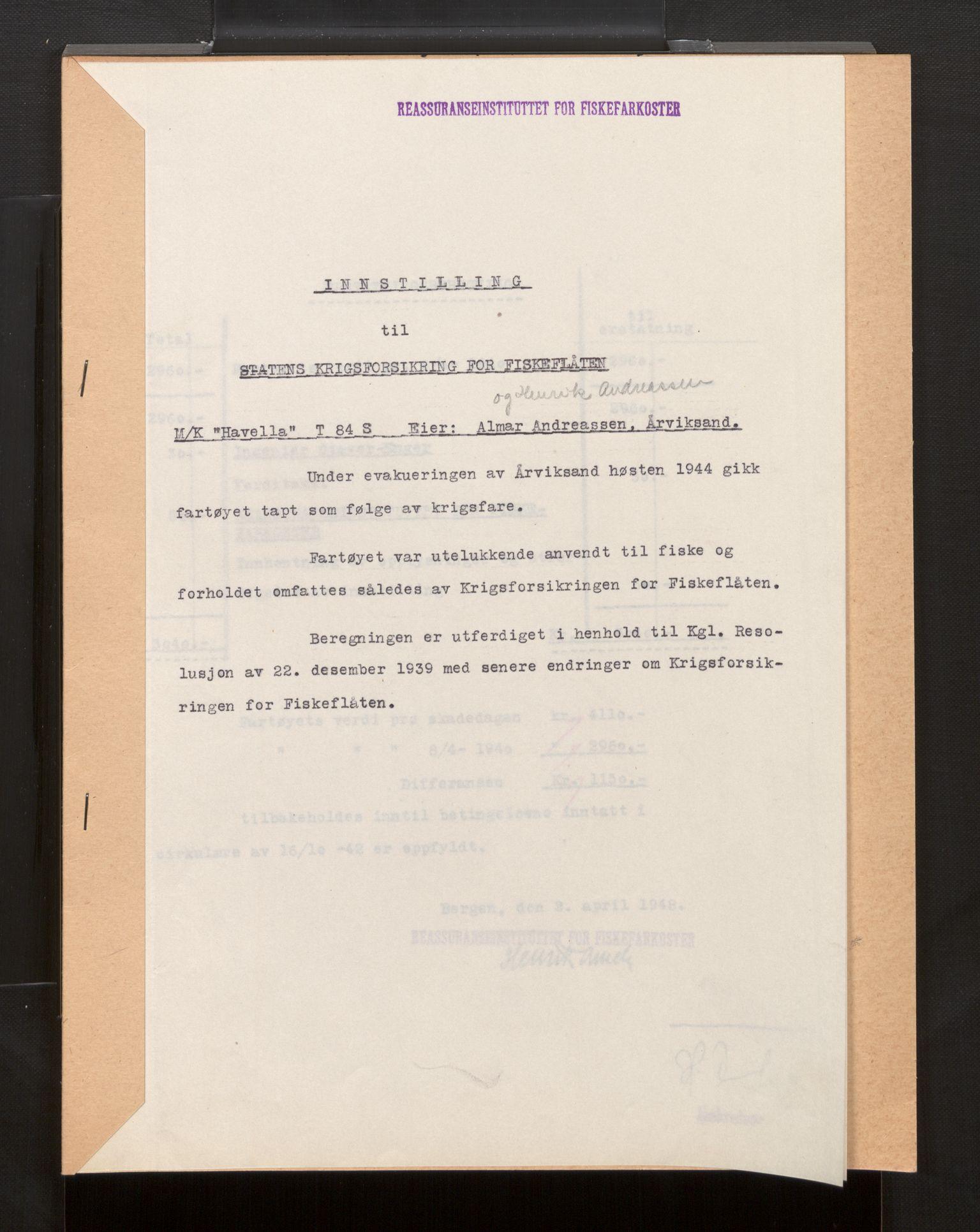 SAB, Fiskeridirektoratet - 1 Adm. ledelse - 13 Båtkontoret, La/L0042: Statens krigsforsikring for fiskeflåten, 1936-1971, s. 384